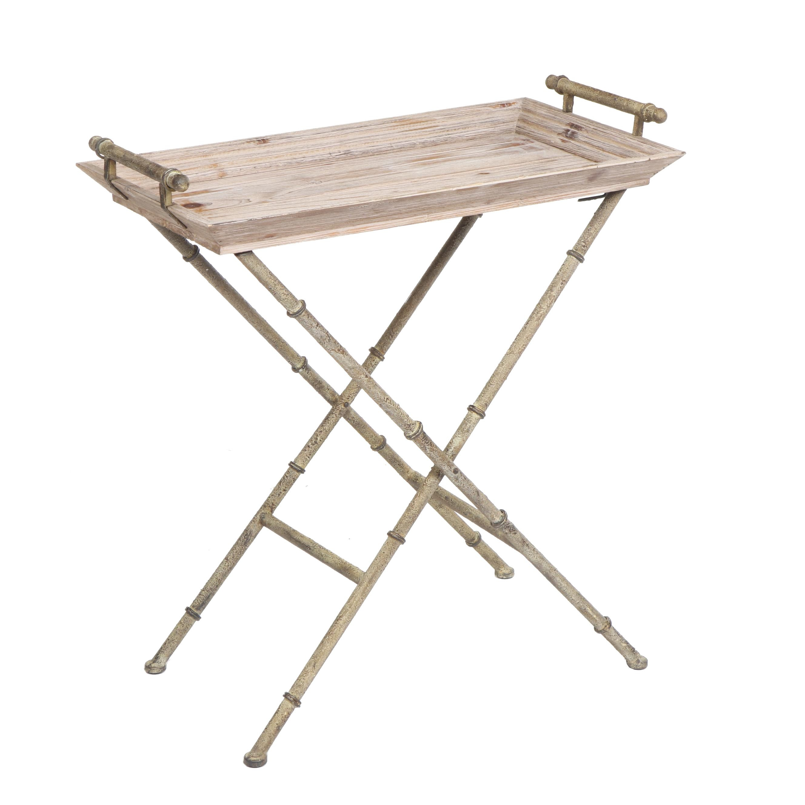 Contemporary Metal and Pine Folding Butler's Tray Table