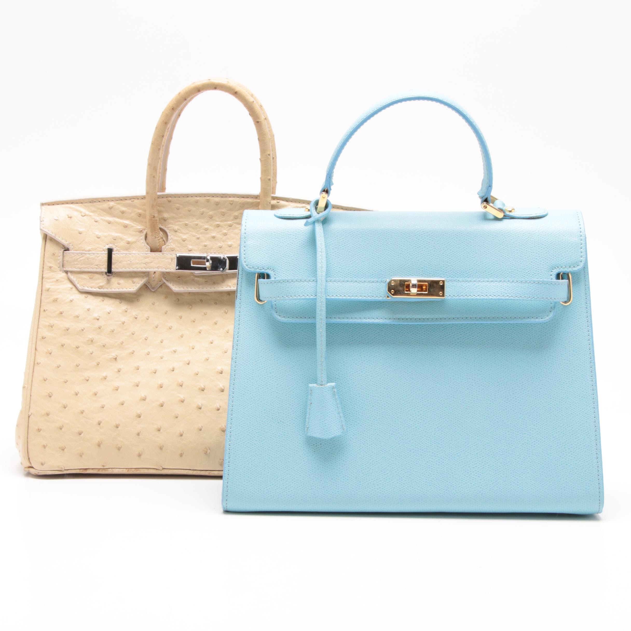 Via Borgospesso Light Blue Leather Satchel and Beige Ostrich Leather Satchel