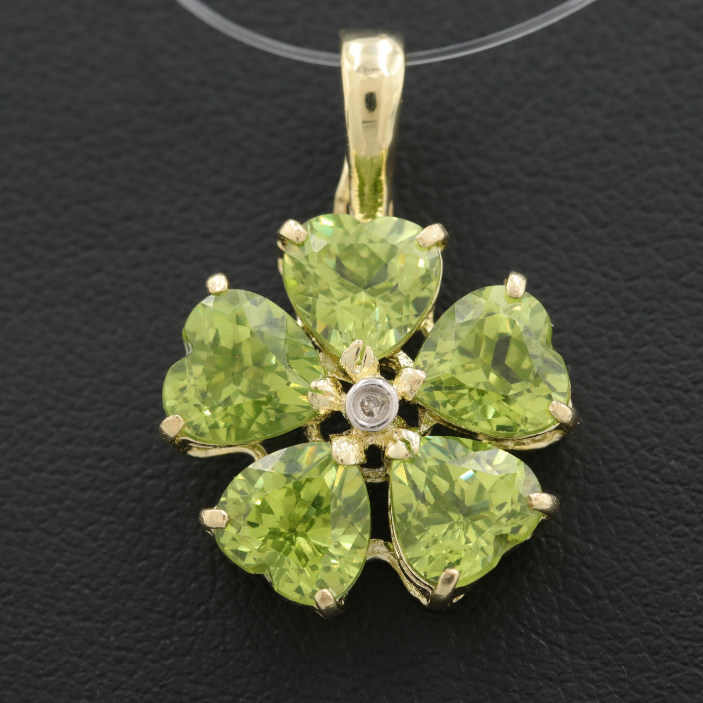 14K Yellow Gold Diamond and Green Cubic Zirconia Enhancer Pendant