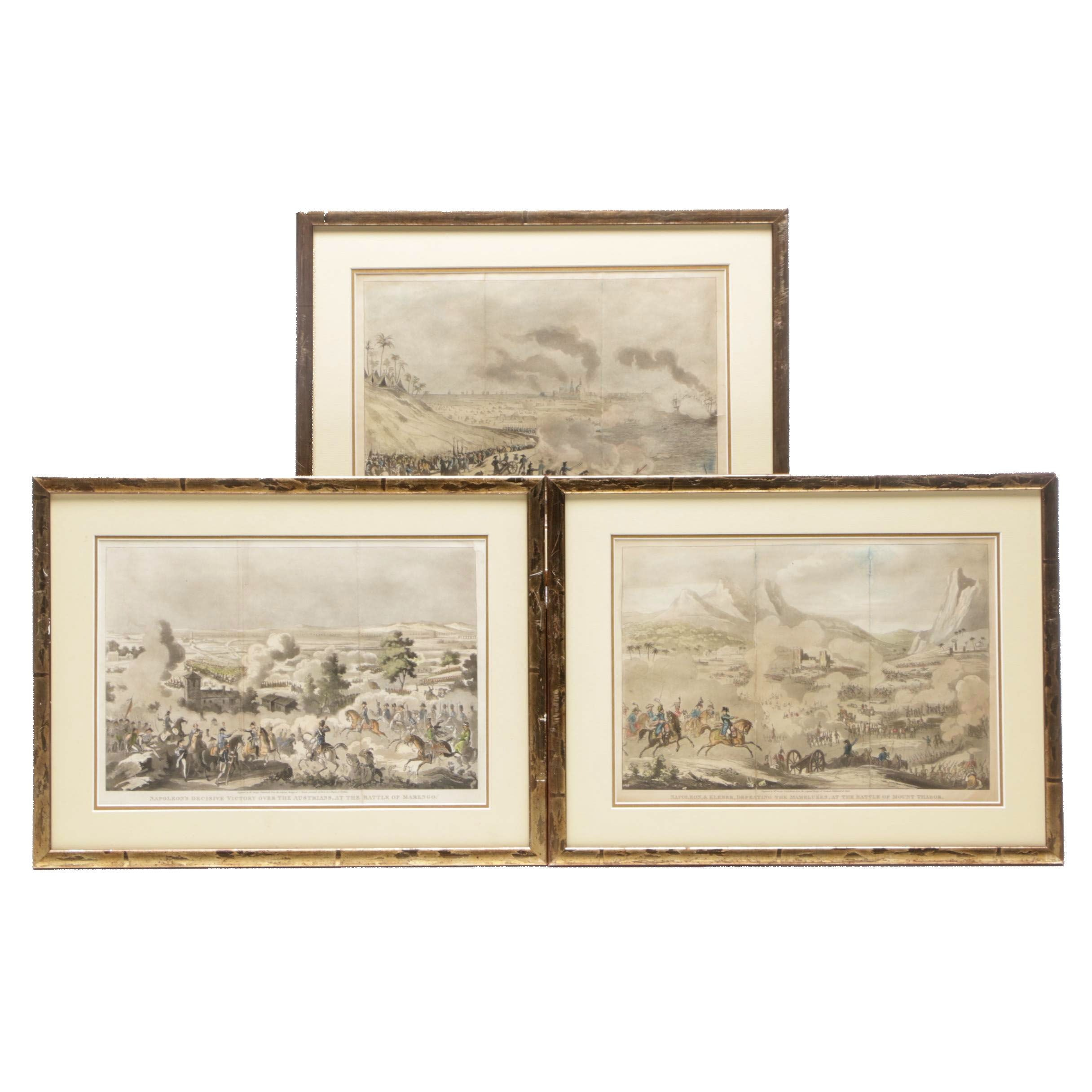 George Cruikshank Hand-colored Etchings with Aquatint of Napoleon Battle Scenes