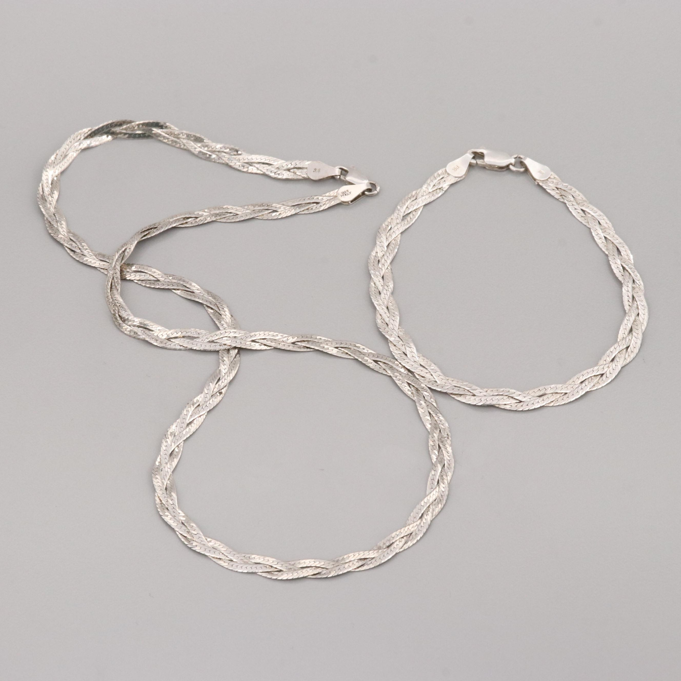 Sterling Silver Braided Herringbone Necklace and Bracelet