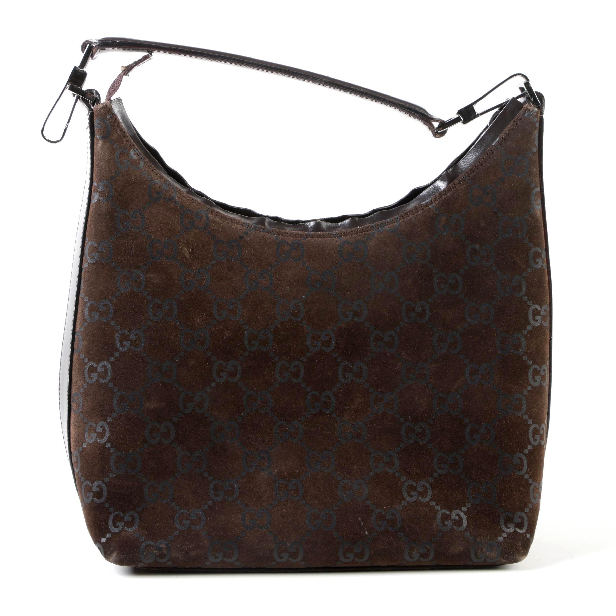 Gucci Brown GG Monogram Suede and Leather Hobo Bag