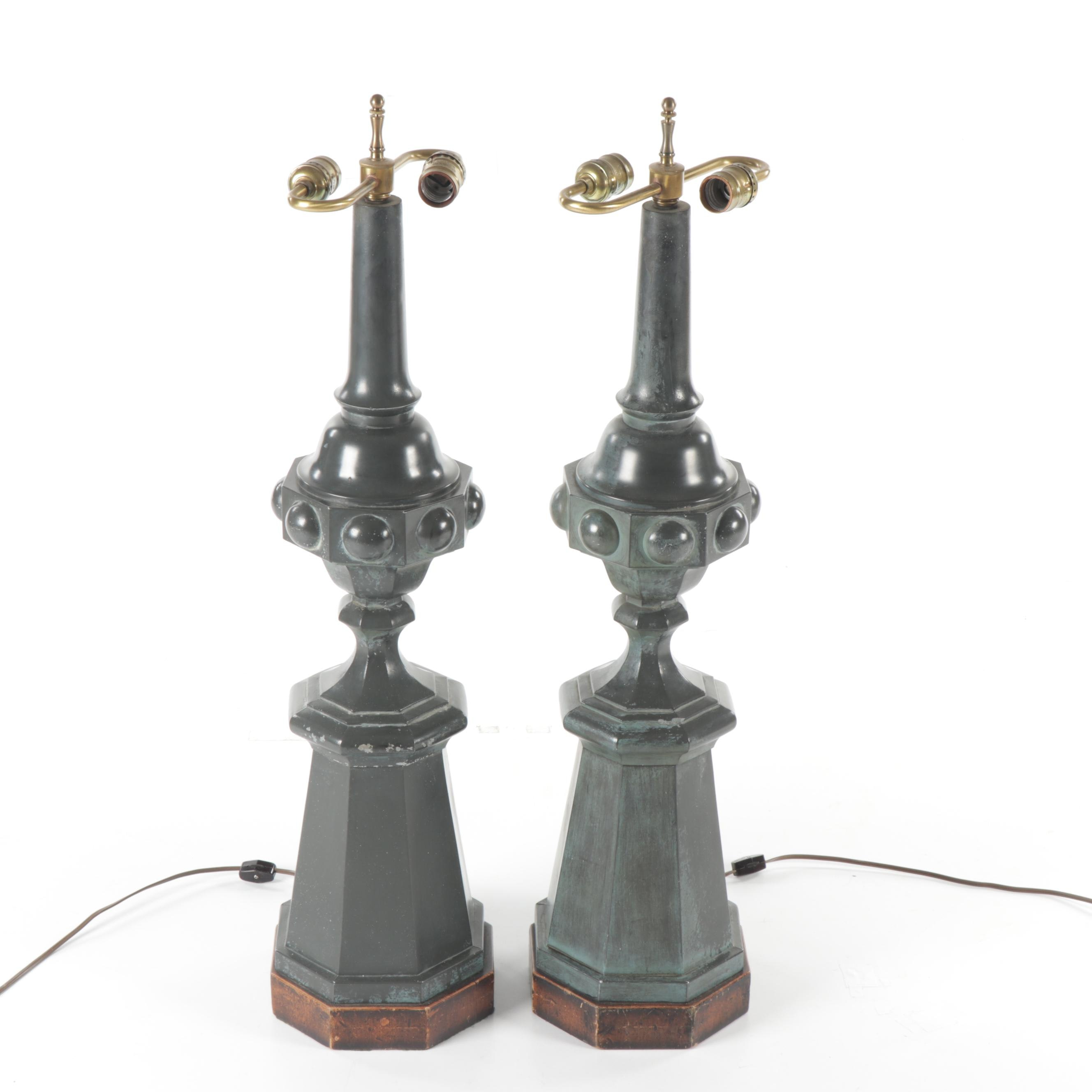 Gothic Style Painted Metal Table Lamps, Mid-Century