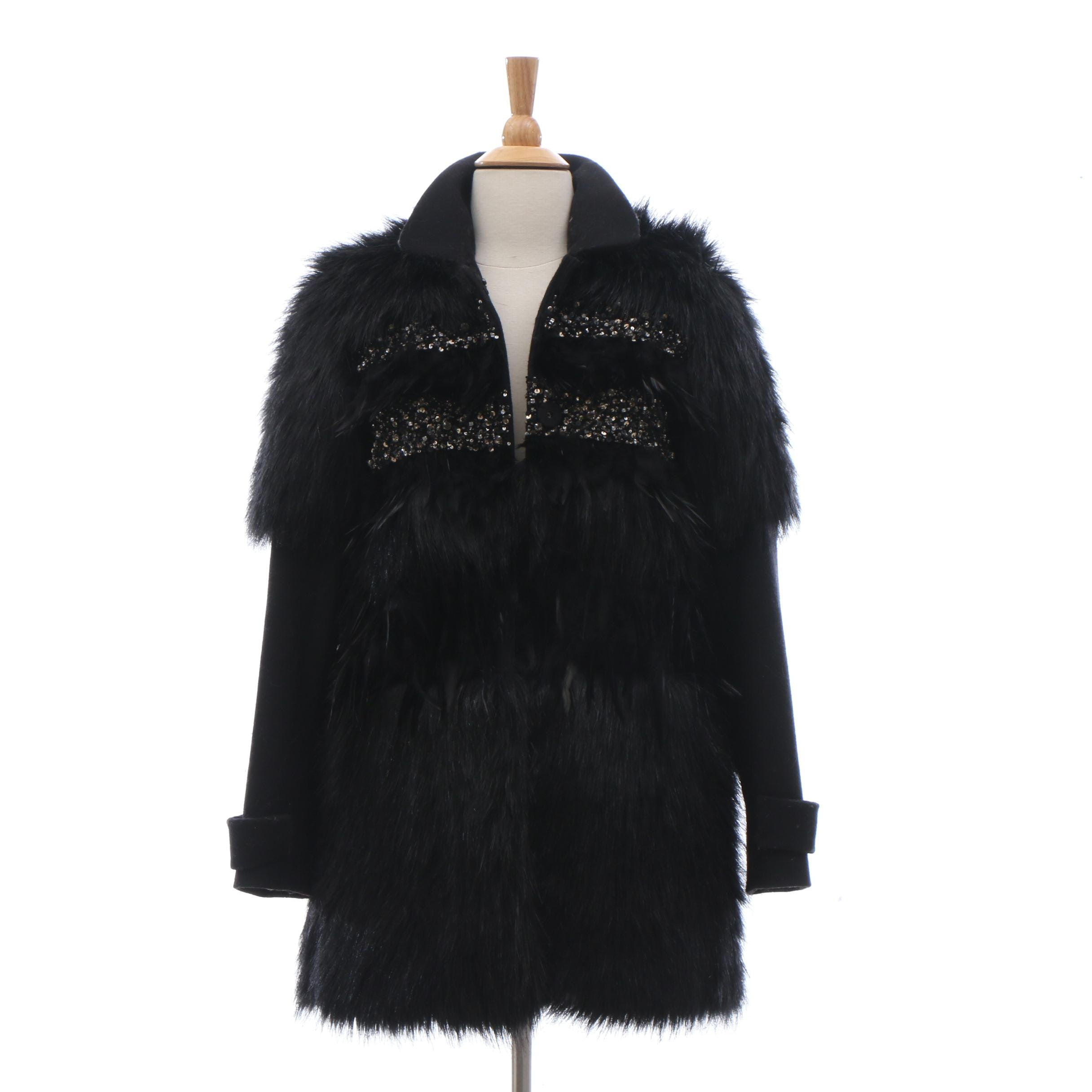 Juicy Couture Black Wool Blend Jacket with Faux Fur, Feather and Embellisments