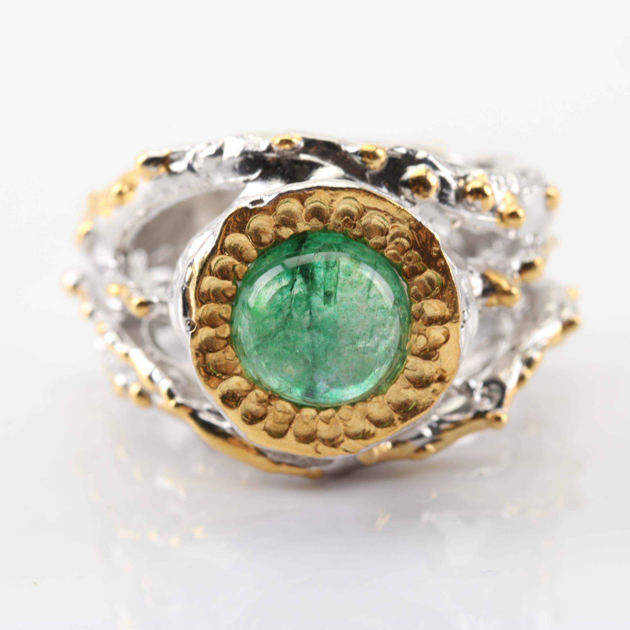 Sterling Silver 1.85 CT Emerald Ring