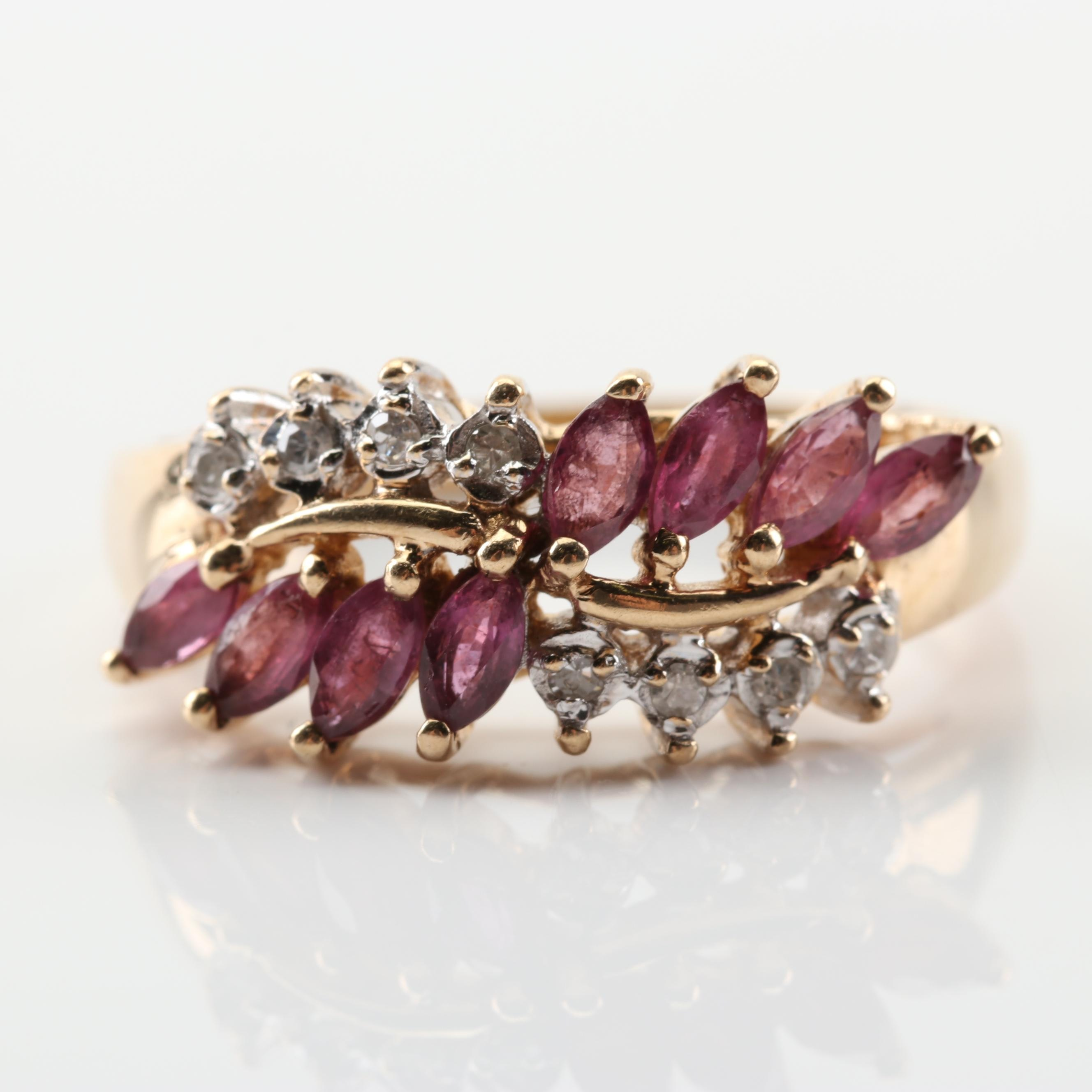 10K Yellow Gold 1.00 CTW Ruby and Diamond Ring