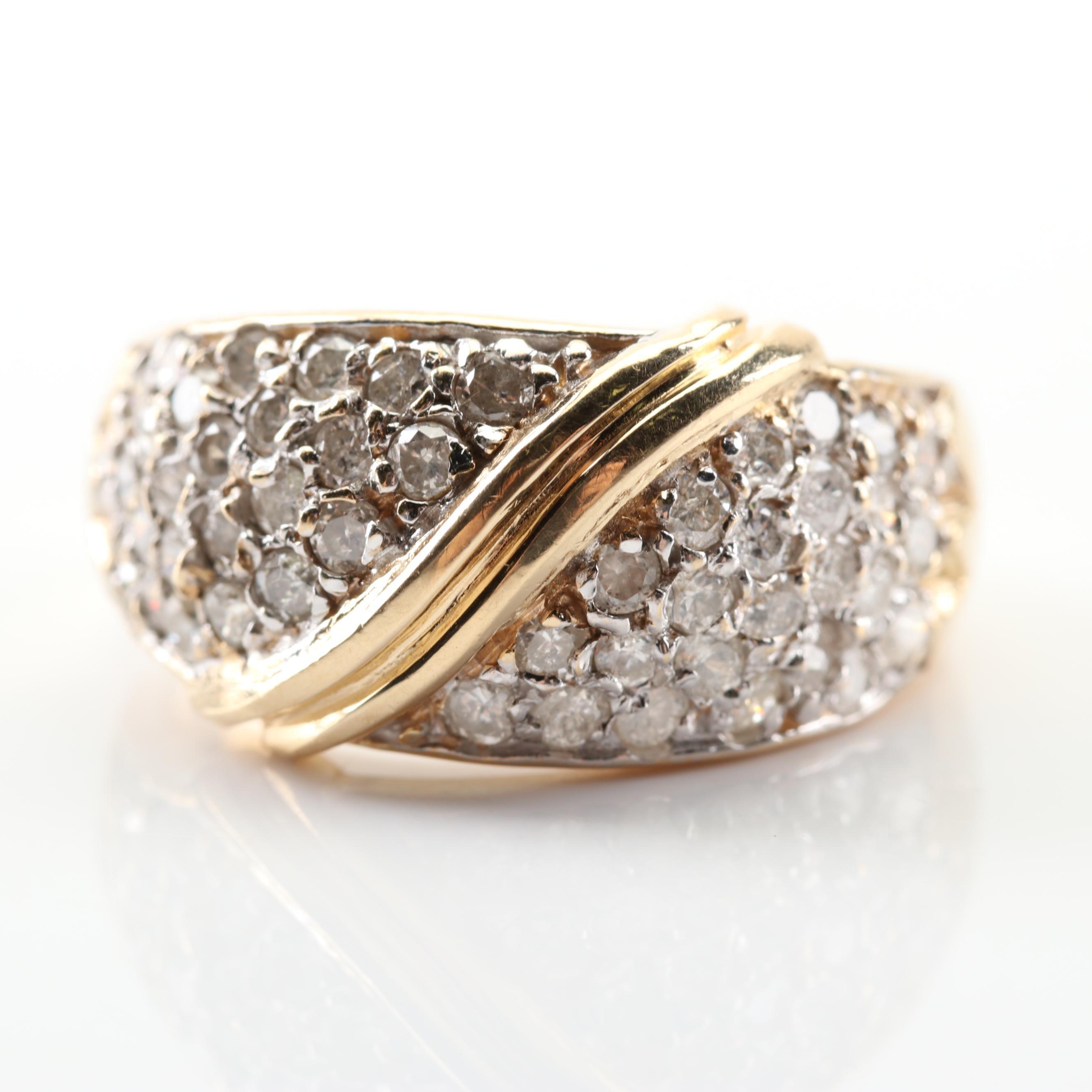 14K Yellow Gold Pave Diamond Ring