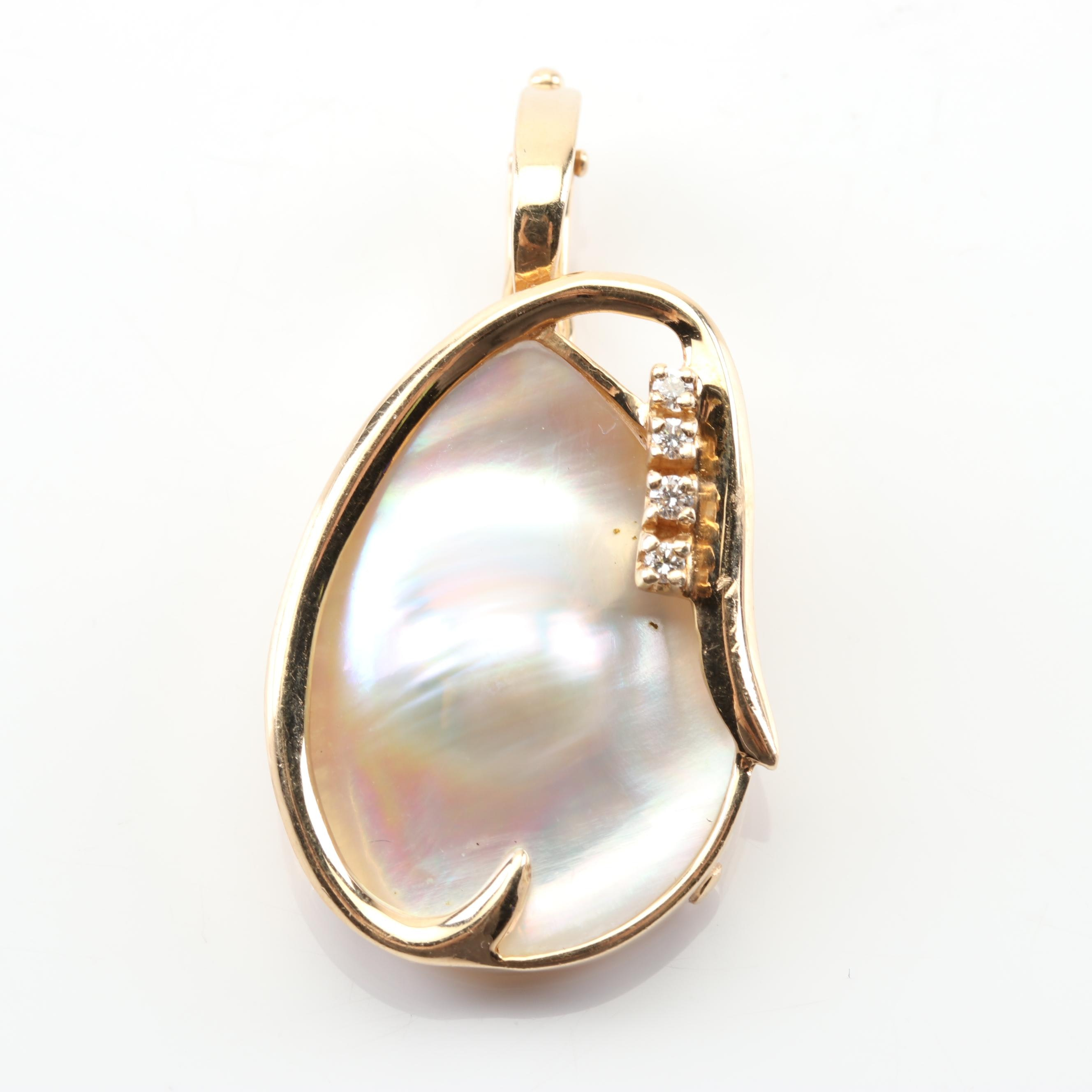14K Yellow Gold Blister Pearl and Diamond Enhancer Pendant