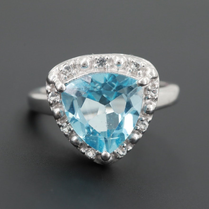 976cf7619 Sterling Silver Blue Topaz Ring Accented by a Halo of White Topaz : EBTH