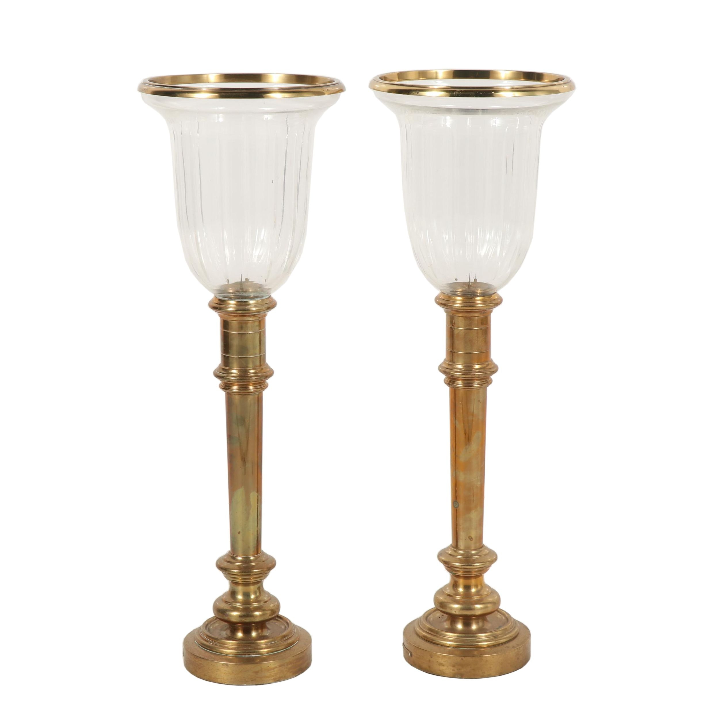 Brass and Glass Torchiere Candle Holders