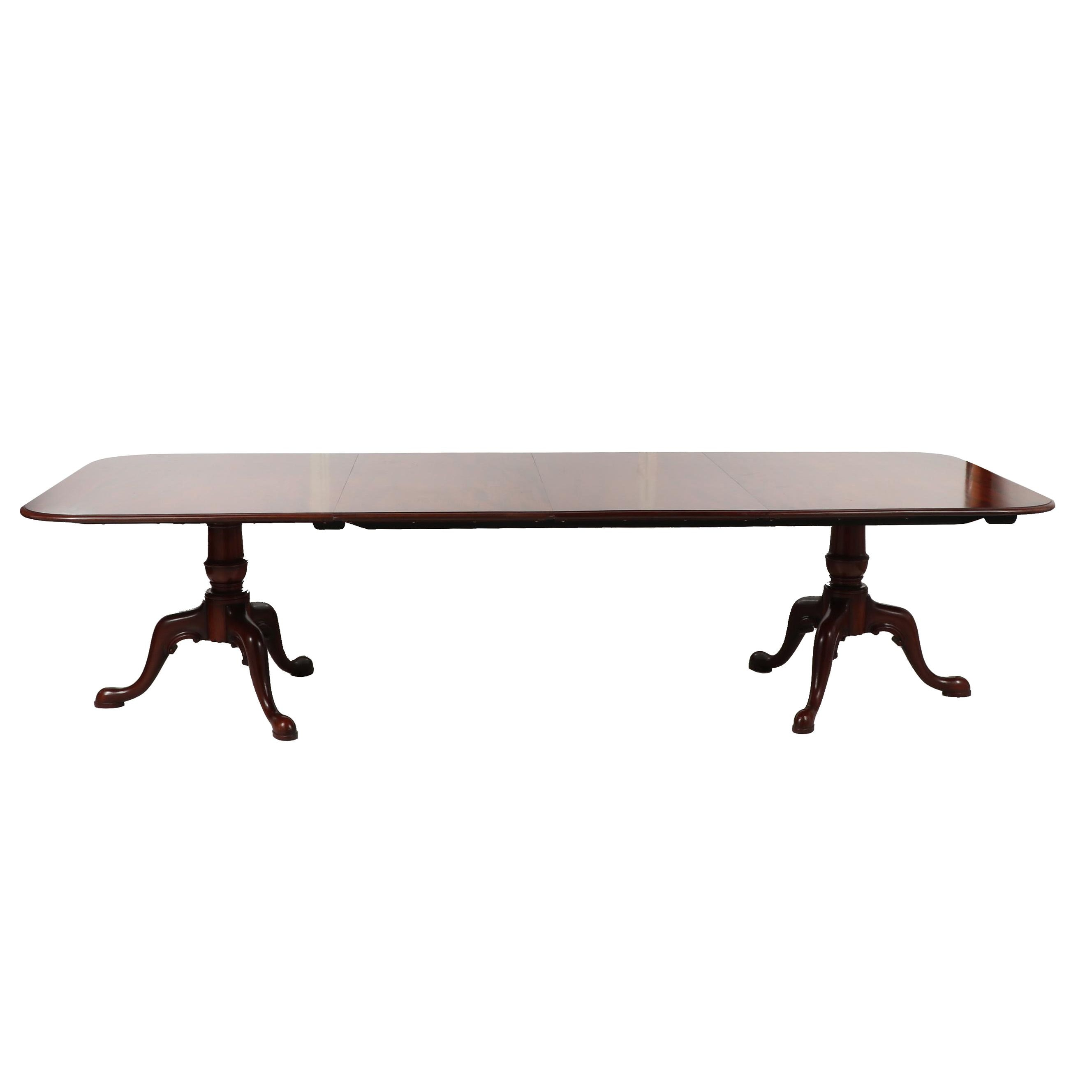 Arthur Brett & Sons, Ltd. Mahogany Dining Table with Leaves, Mid 20th Century