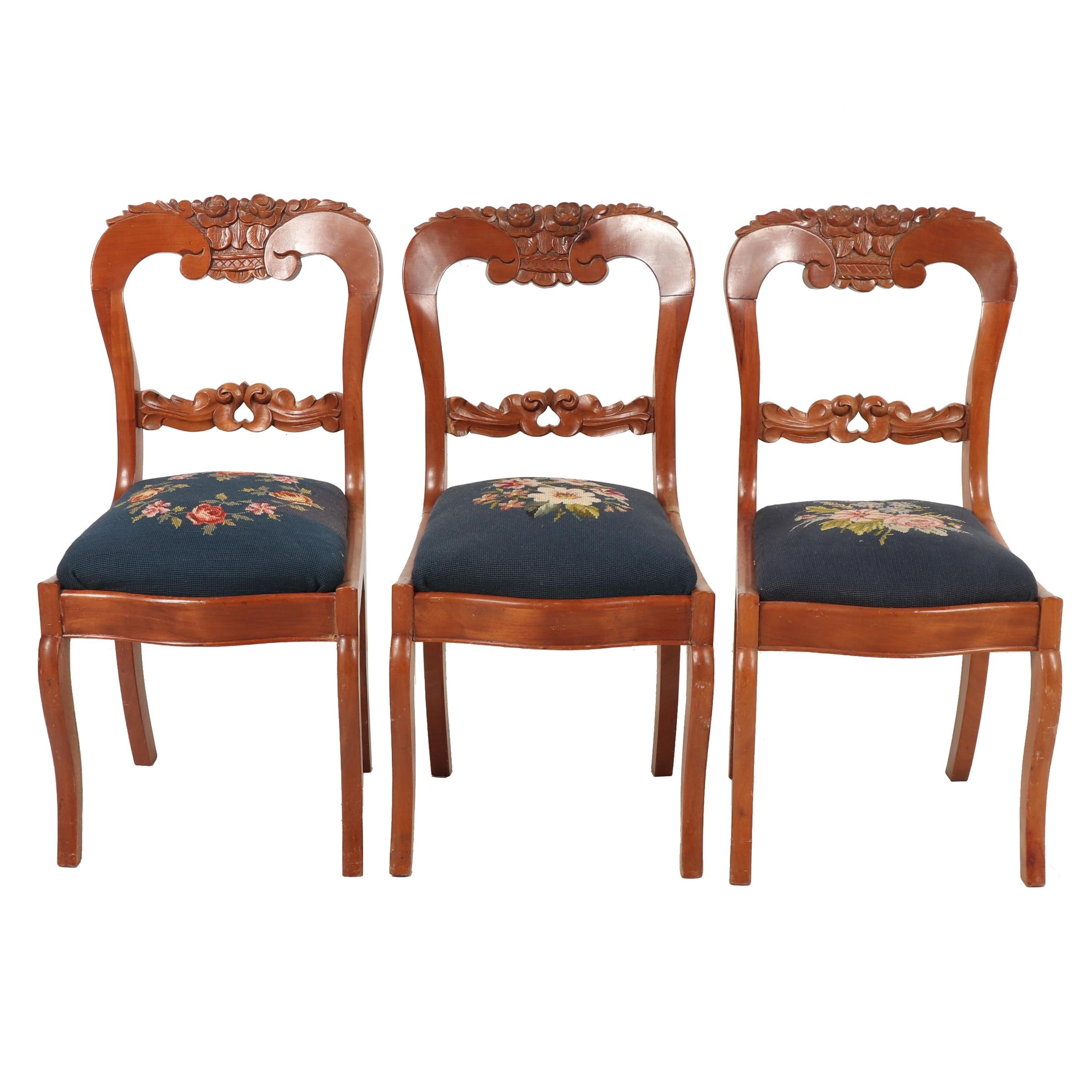 Victorian Style Needlepoint Upholstered Side Chairs