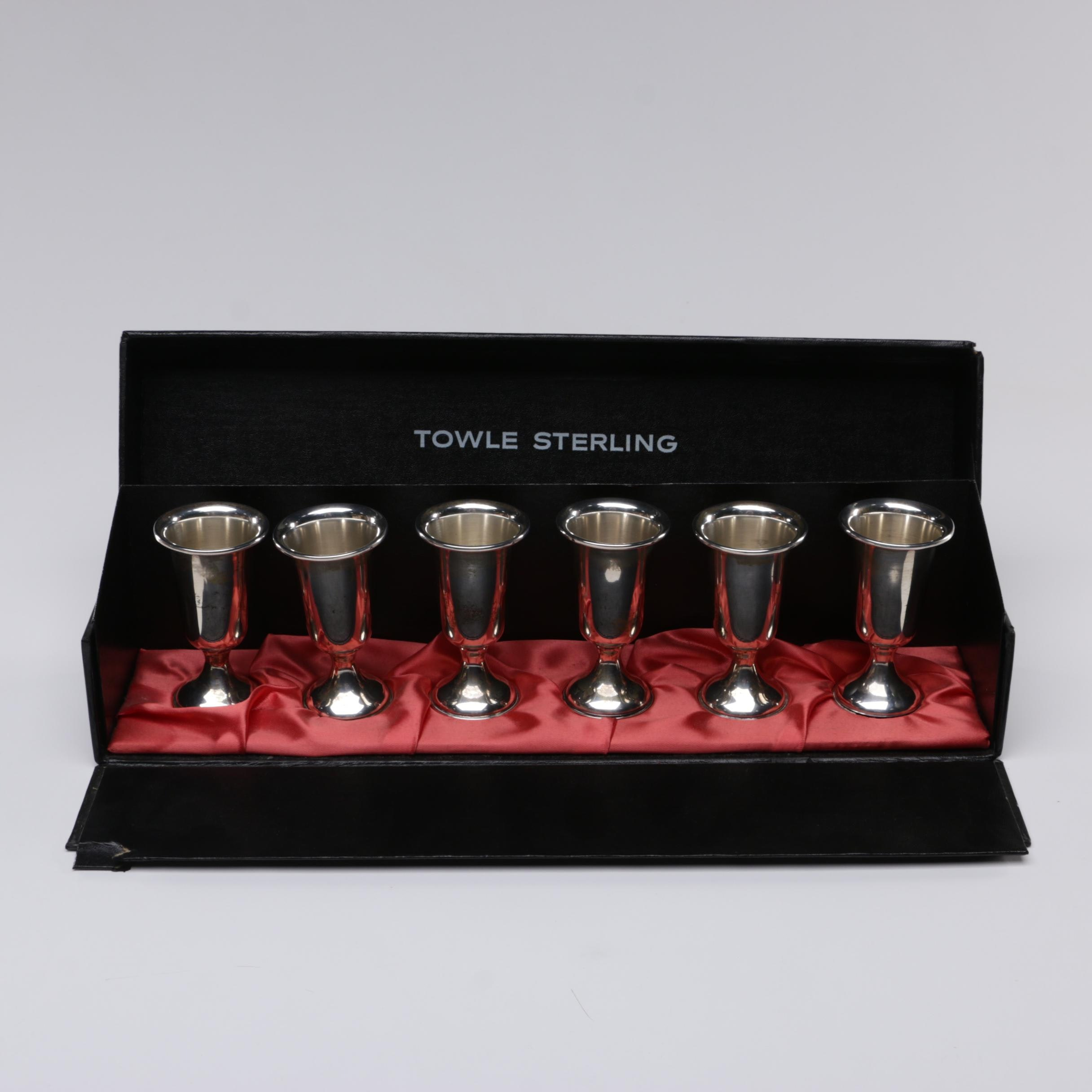 Towle Weighted Sterling Silver Cordial Set with Case, Mid-Century