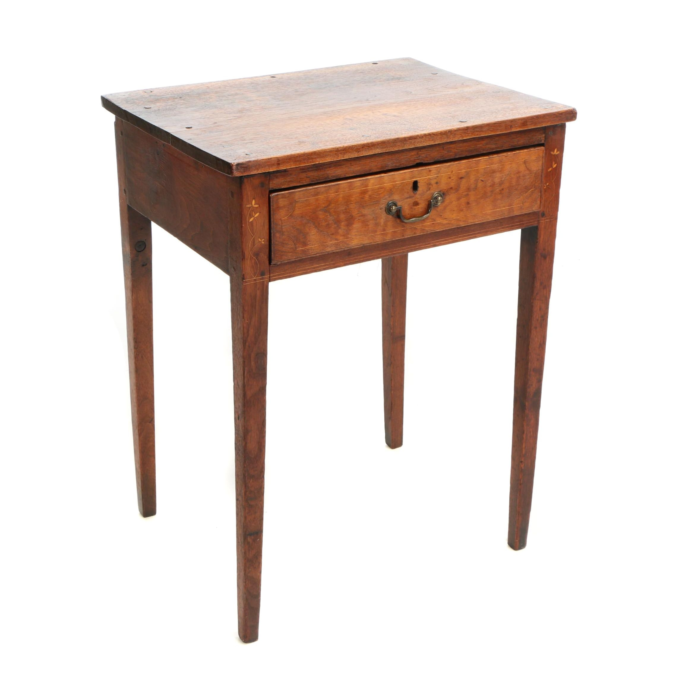 String-Inlaid Walnut and Marquetry One-Drawer Side Table, 19th Century