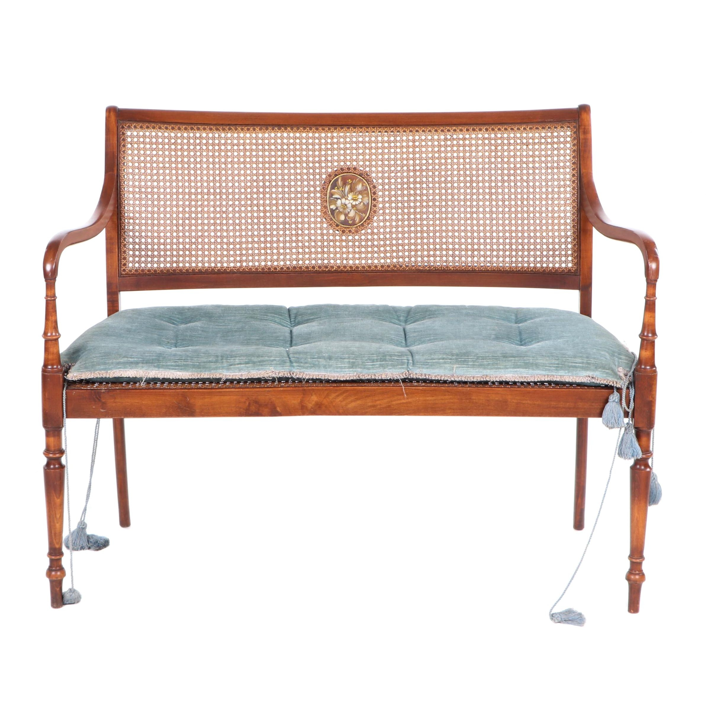Regency Style Caned Fruitwood Settee with Polychrome Decoration, 20th Century
