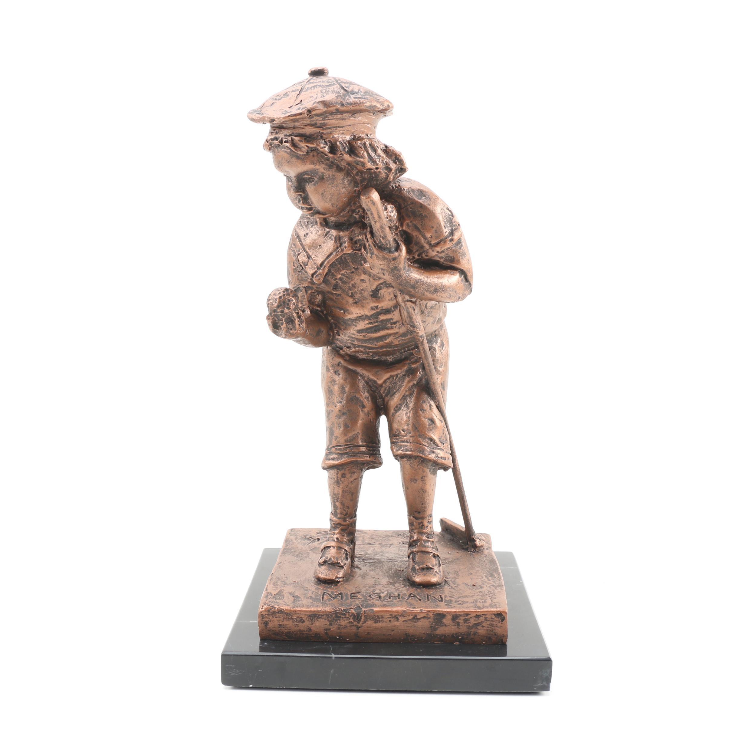 """Bob Pack Limited Edition """"Meghan"""" Coldcast Bronze Sculpture on Marbel Base, 1999"""