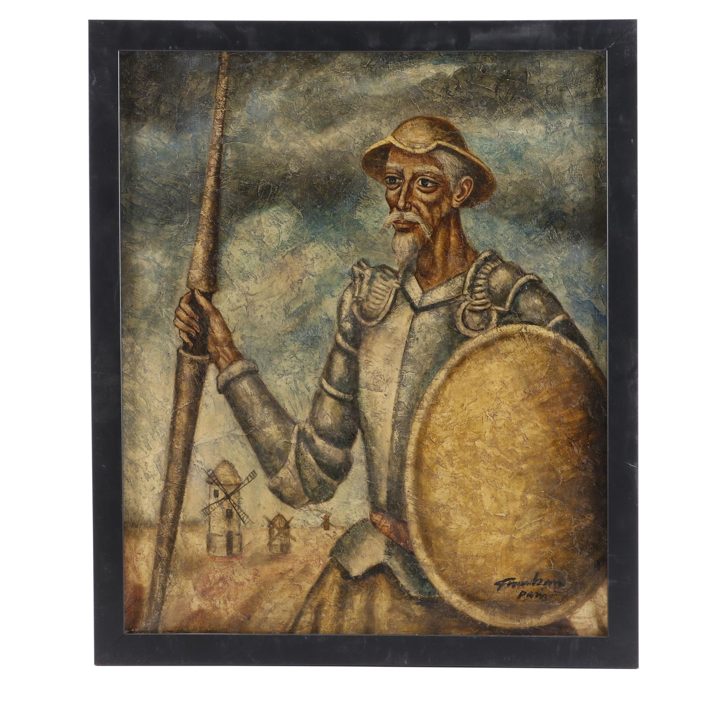 "Late 20th Century Oil Painting ""Don Quixote"""