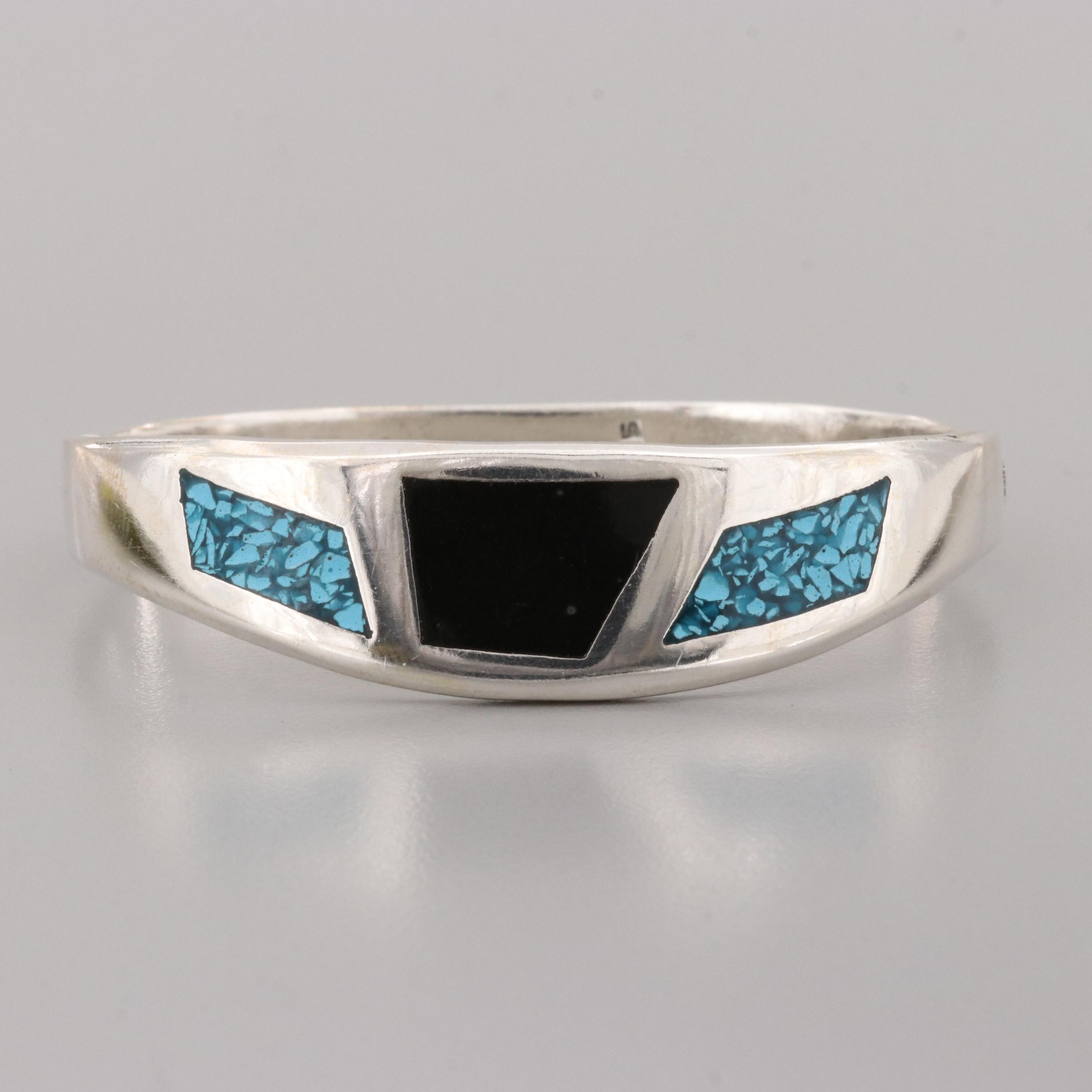 Mexican Sterling Silver Resin and Chip Stone in Resin Hinged Bangle