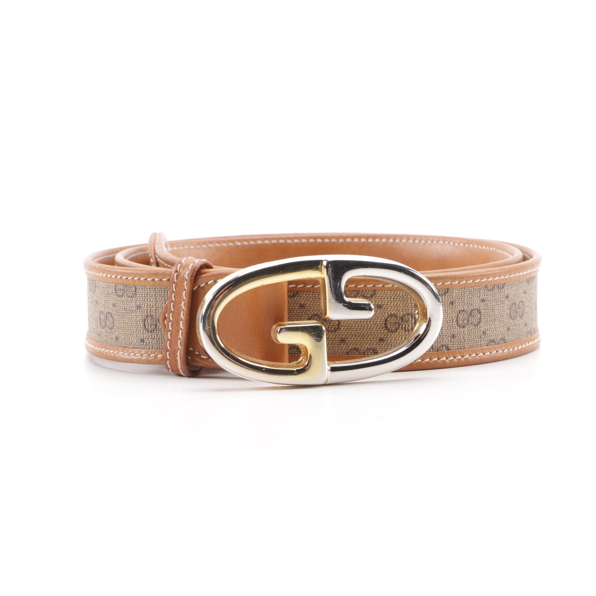 Gucci GG Canvas and Leather Belt with Two-Tone GG Buckle