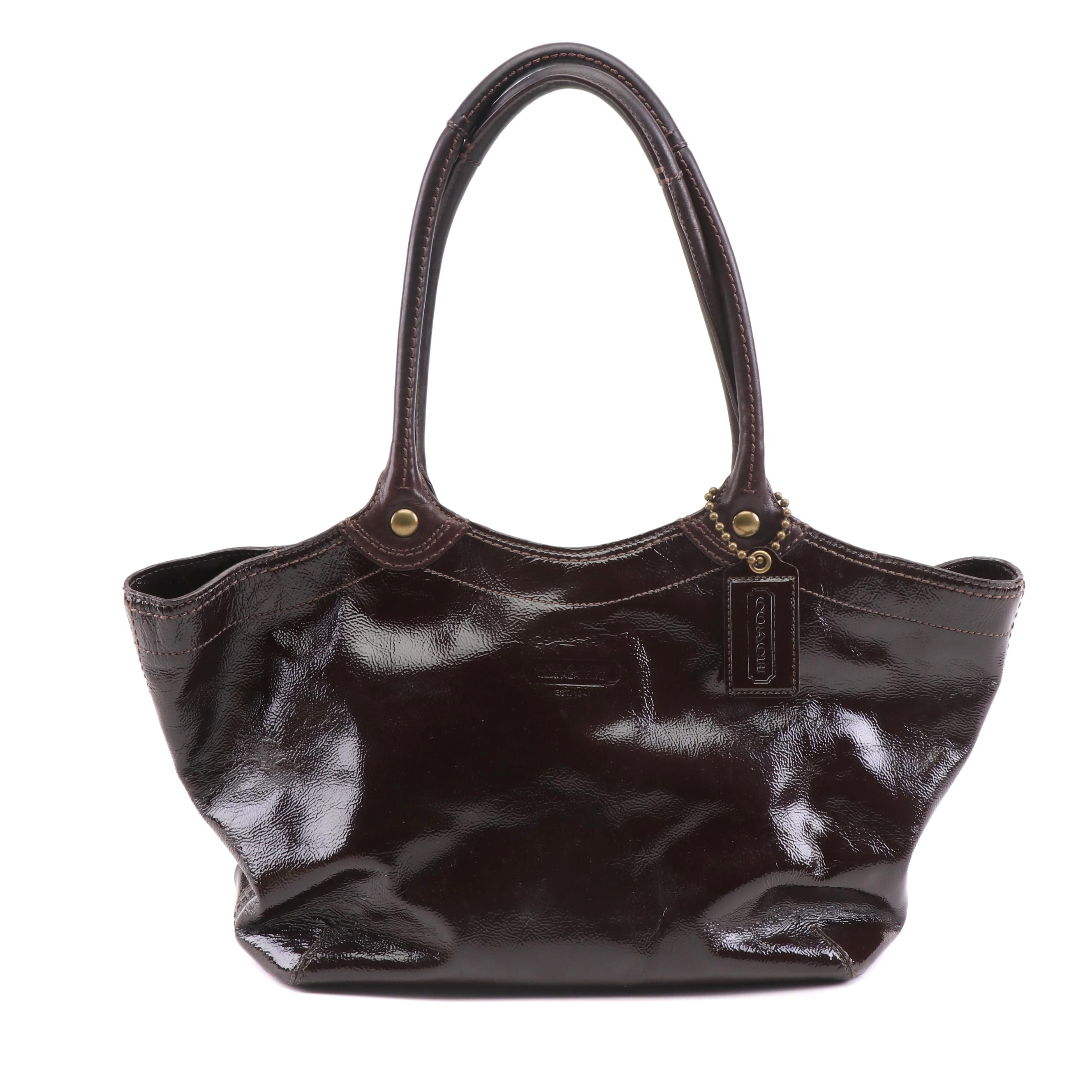 Coach Bleeker Dark Plum Patent Leather Shoulder Bag