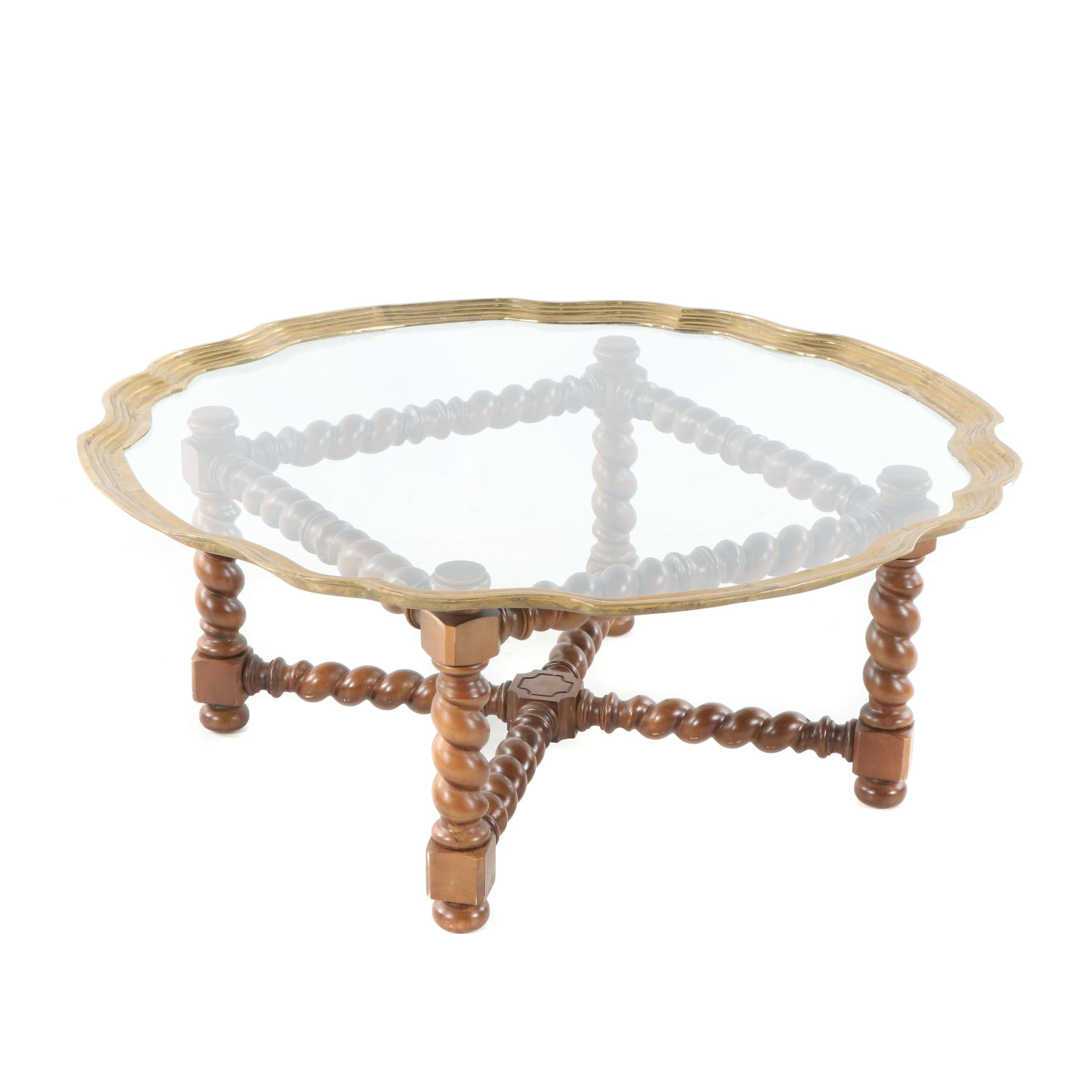 William & Mary Style Maple Cocktail Table with Brass Framed Glass Tray Top