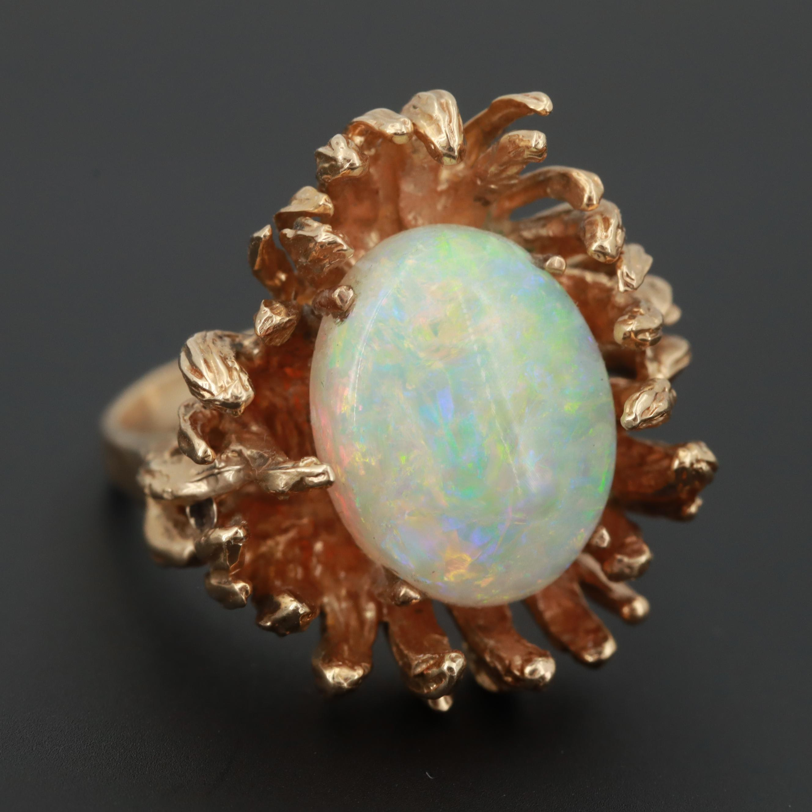 14K Yellow Gold Oval Opal Cabochon Ring