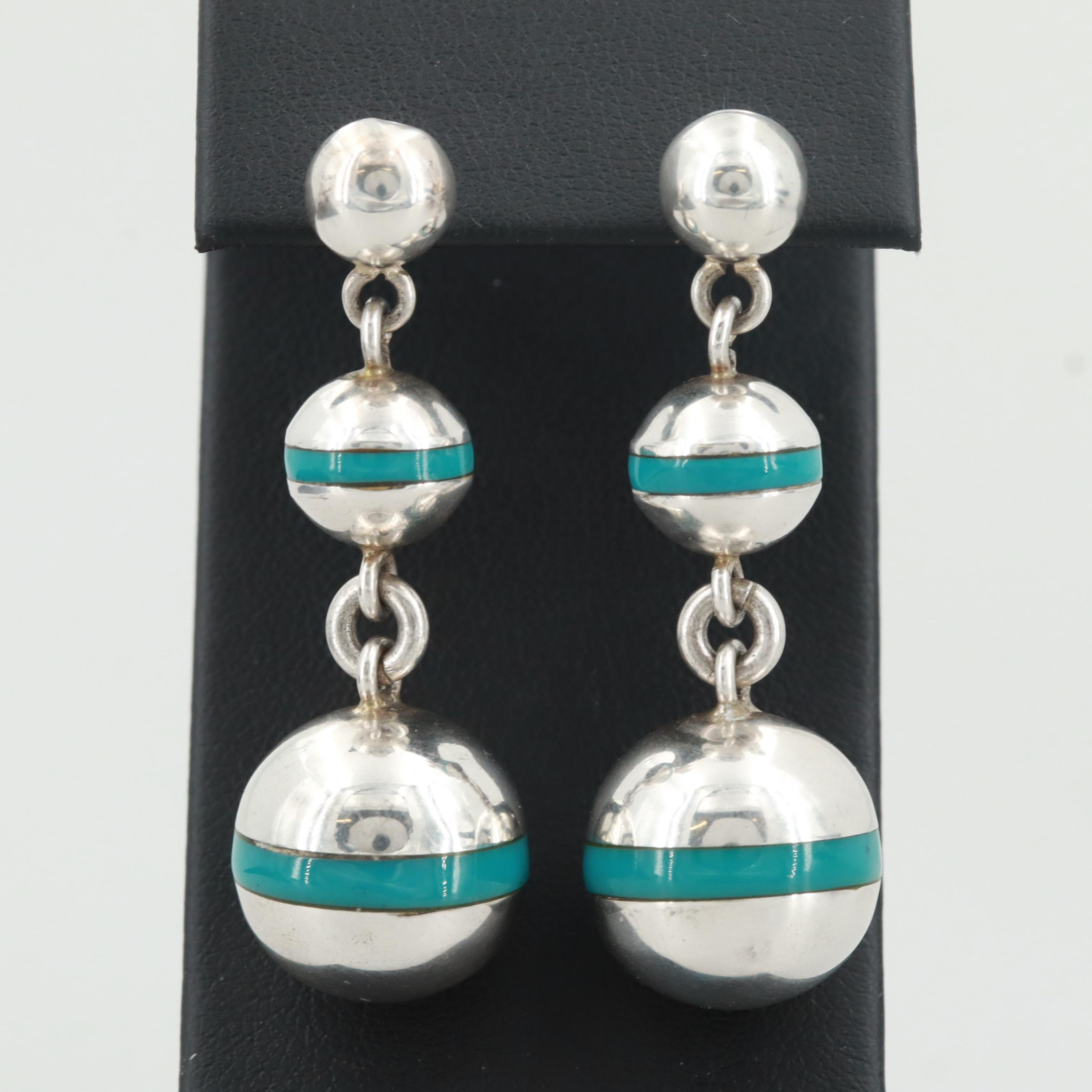 Vintage Mexican Sterling Silver Dangling Spherical Earrings with Resin Accents