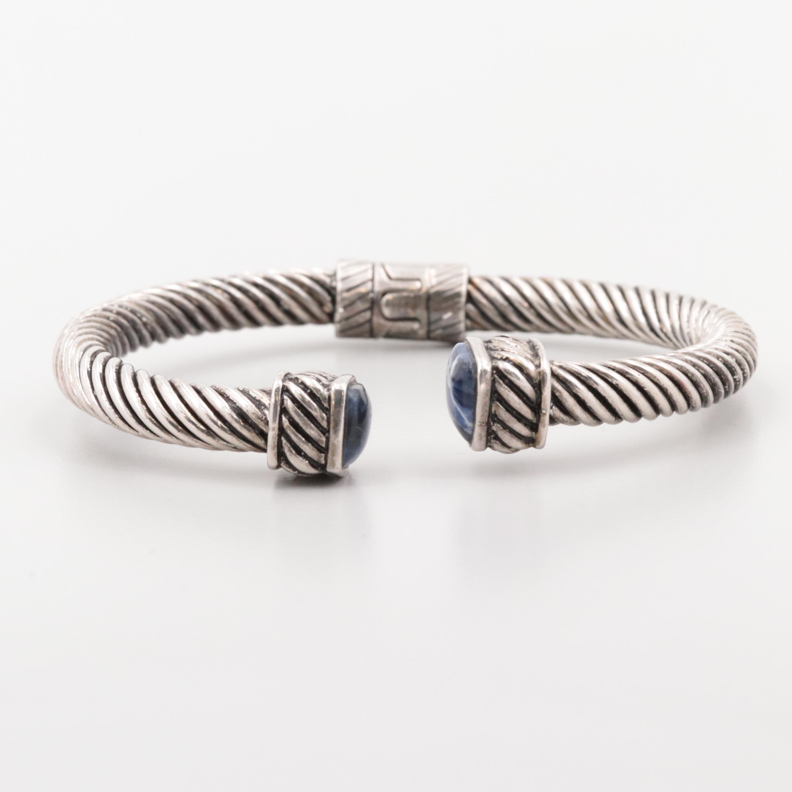 Sterling Silver Sodalite Hinged Cuff Bracelet