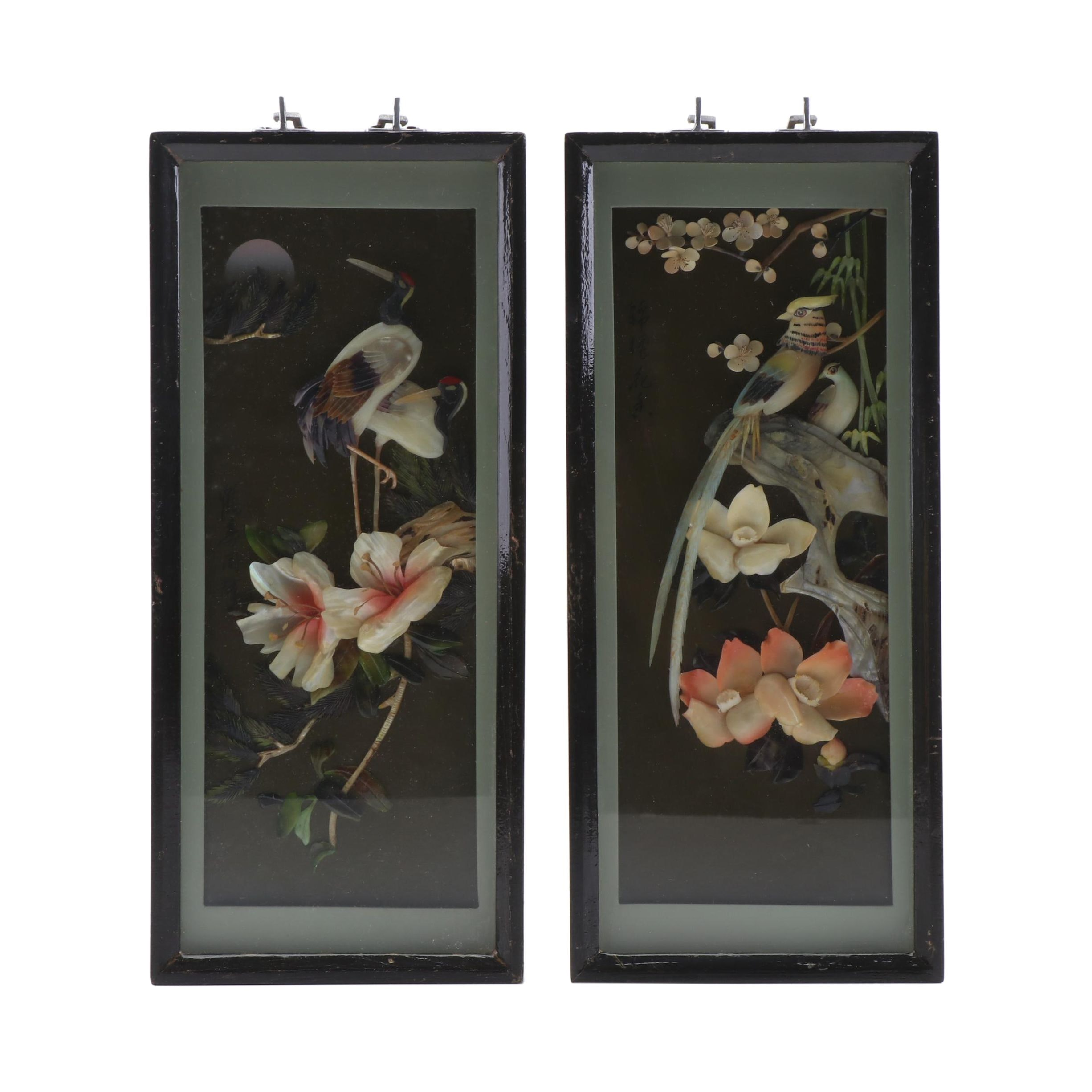 Chinese Resin and Mother of Pearl Relief Carvings