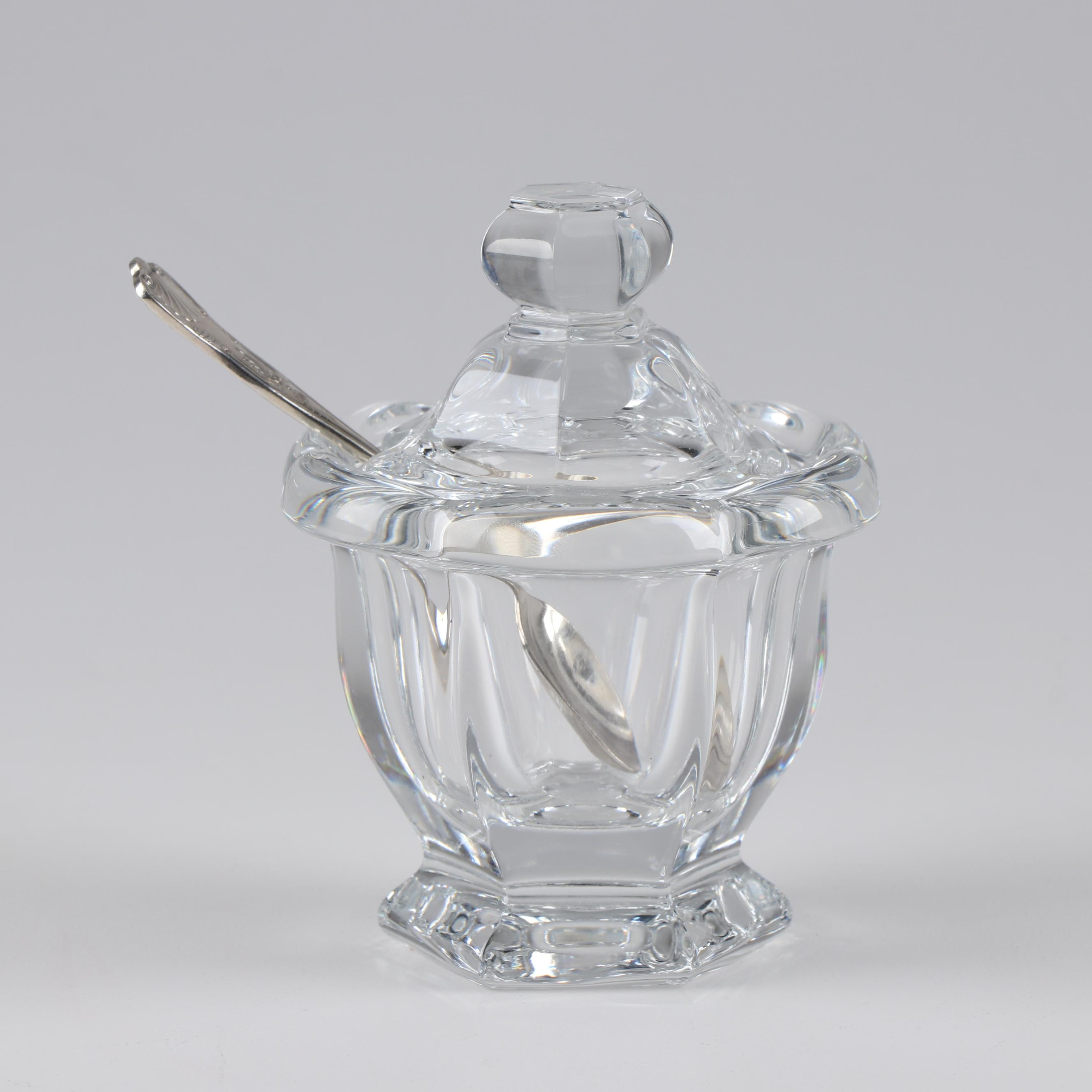 "Baccarat ""Bretagne"" Mustard Jar with International Silver Co. ""Naval"" Spoon"