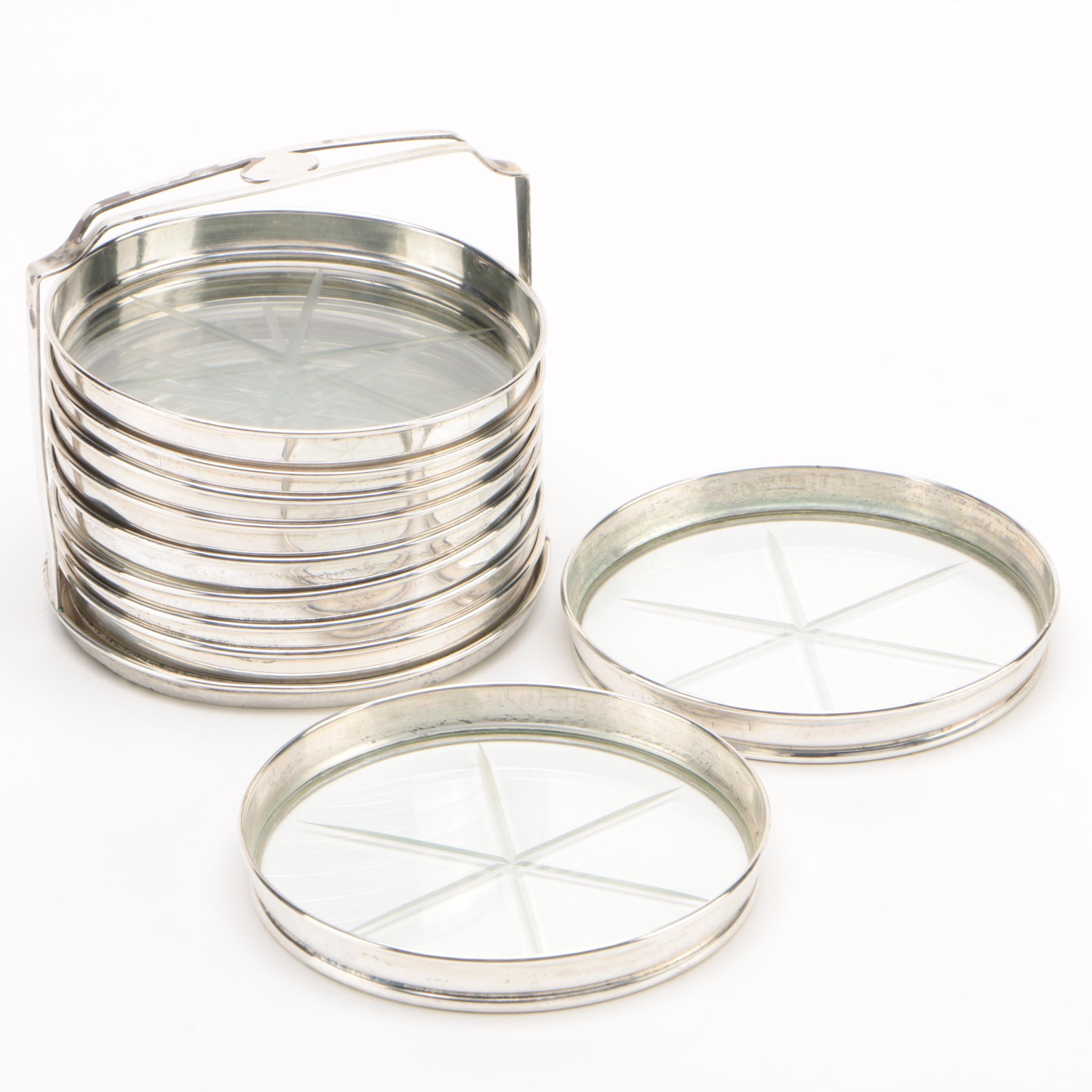 Webster Sterling Silver and Etched Glass Coasters with Caddy, Mid-Century