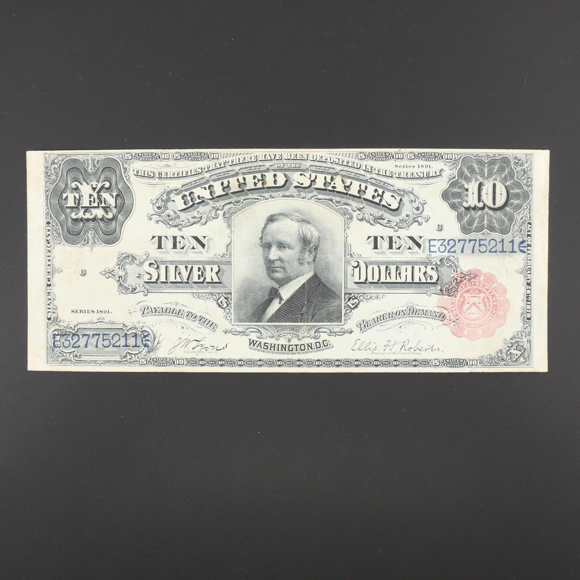 "Series of 1891 Red Seal $10 United States ""Tombstone"" Silver Certificate"