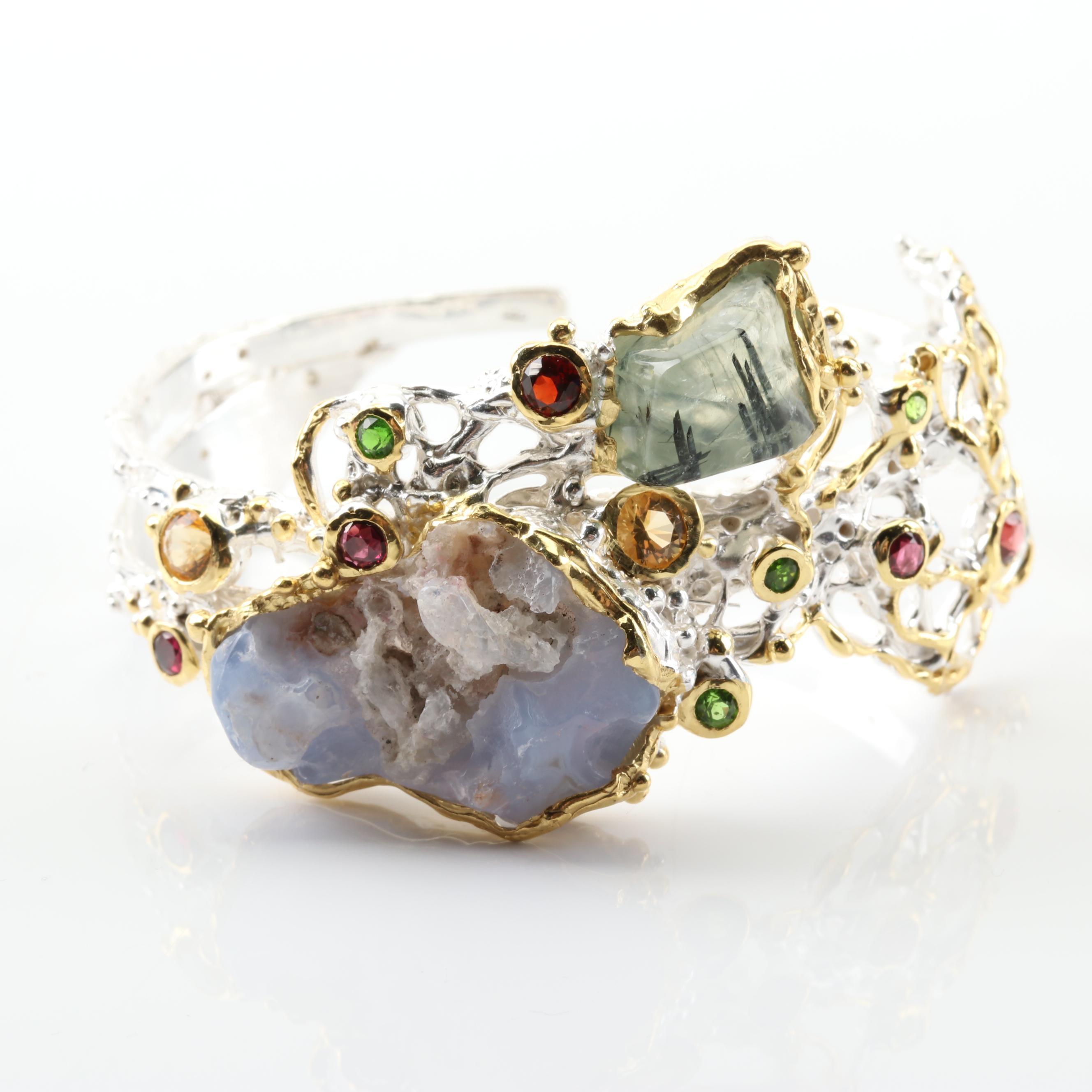 Sterling Silver Multi-Gemstone Cuff Bracelet