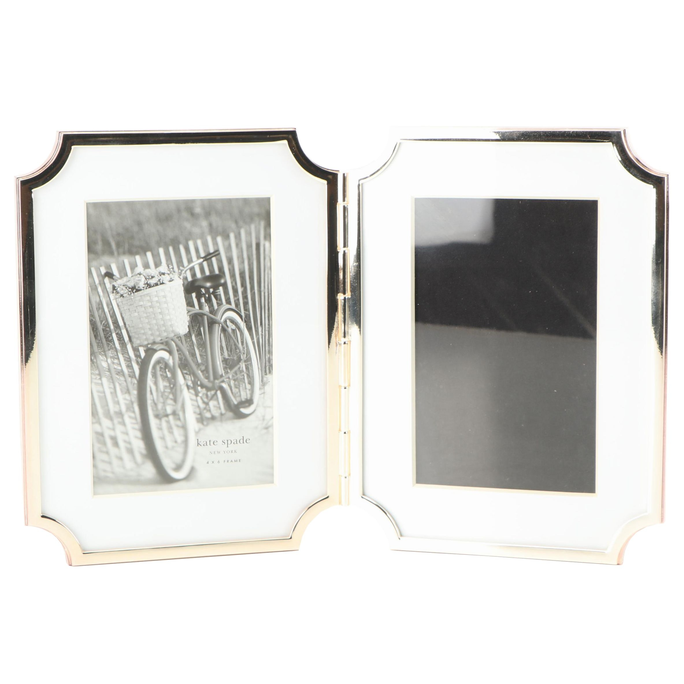 Kate Spade Silver Plate Hinged Double Frame