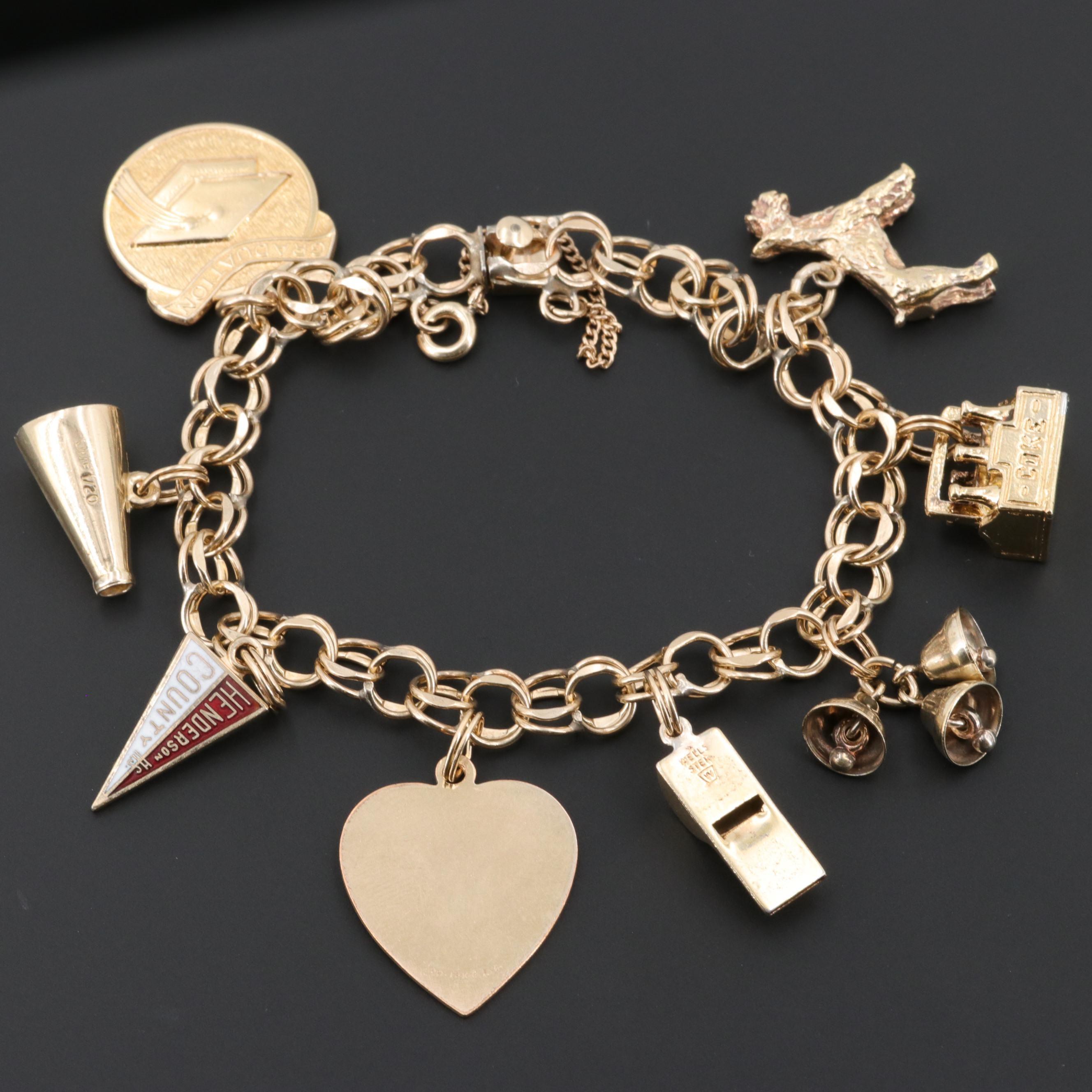 Gold Filled and Gold Wash on Sterling Charm Bracelet Including Enamel