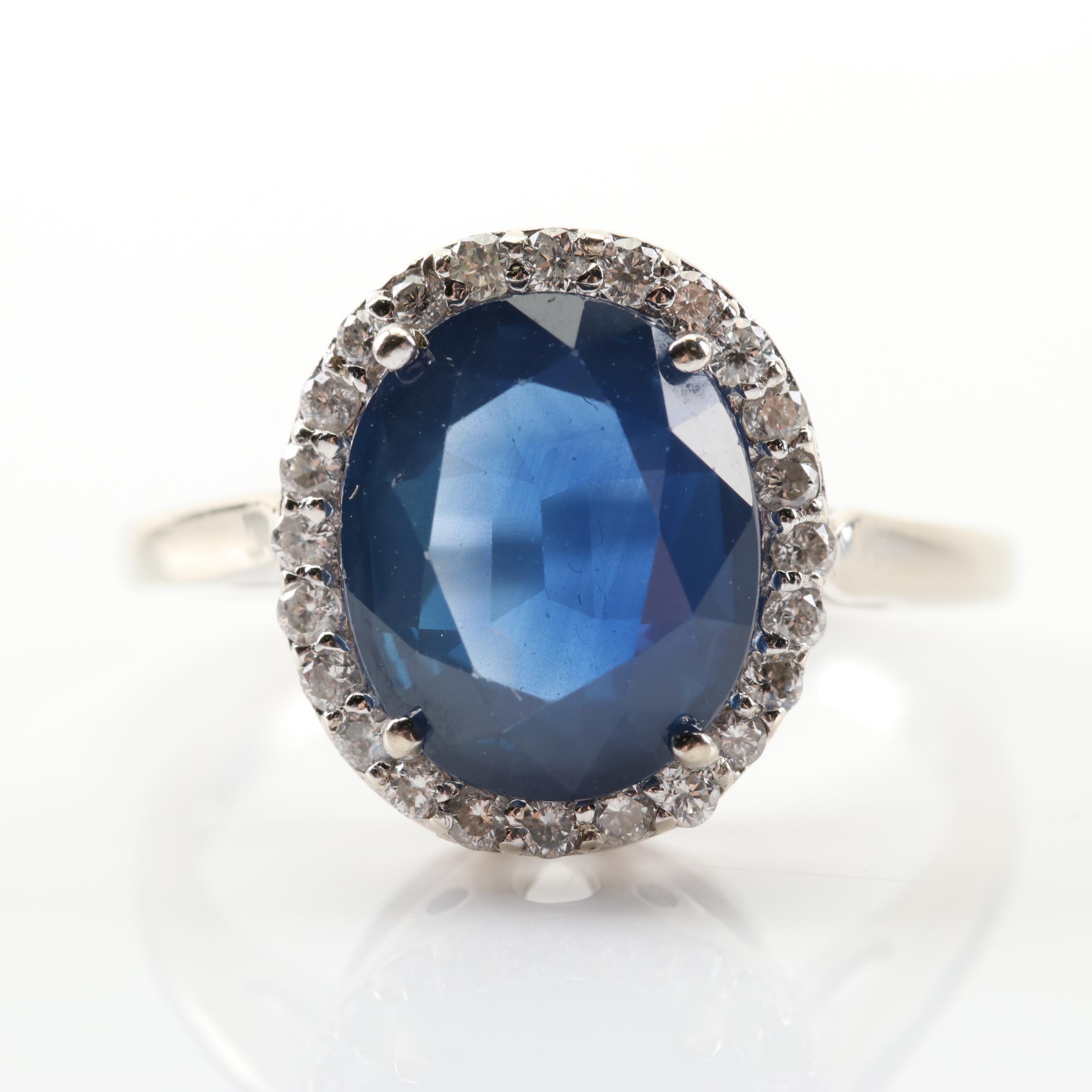 14K White Gold 3.90 CT Sapphire and Diamond Ring