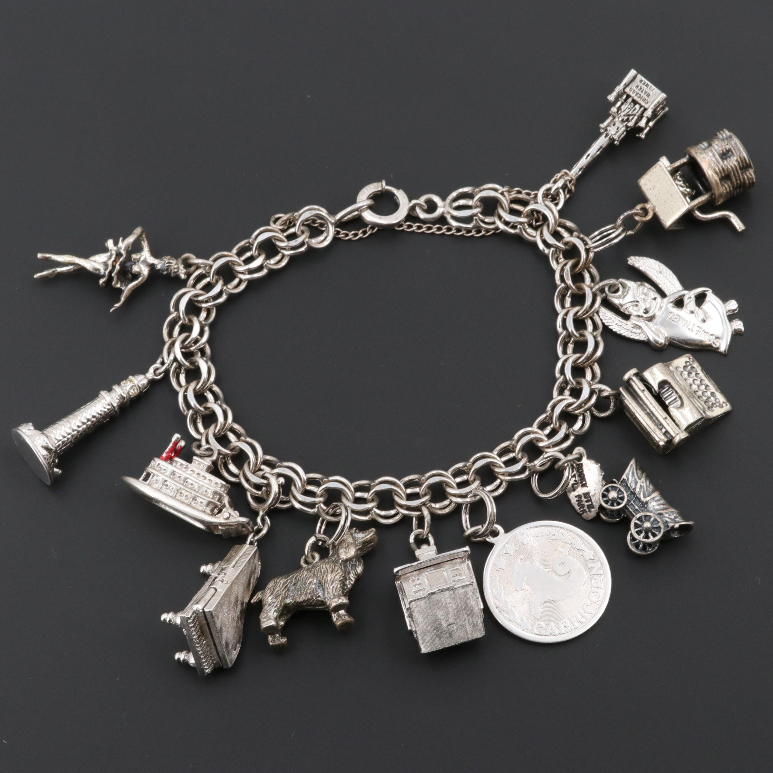 Sterling Charm Bracelet Including Enamel and Lighthouse of Alexandria Charm