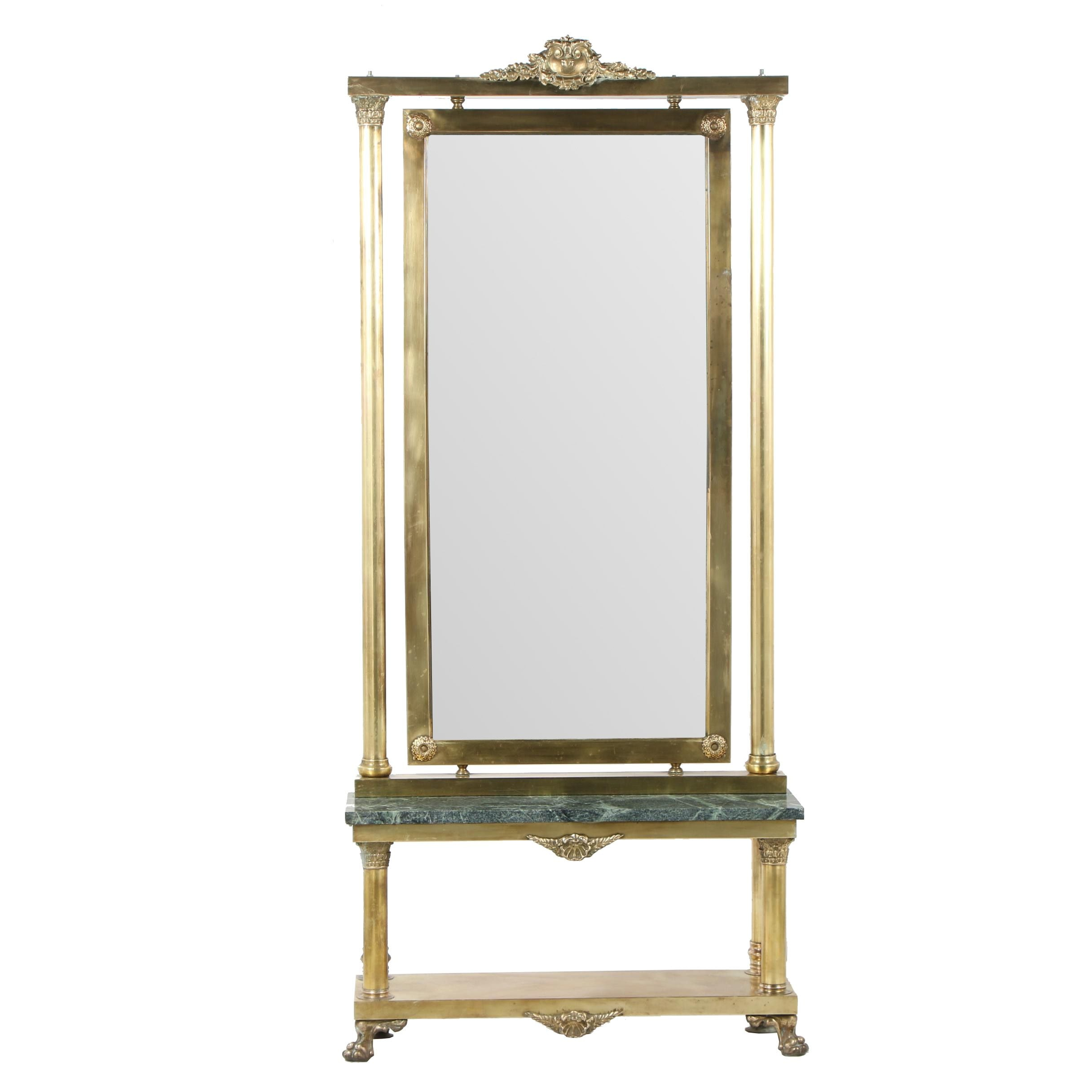 Neoclassical Style Brass and Marble Standing Pier Mirror, Early 20th Century