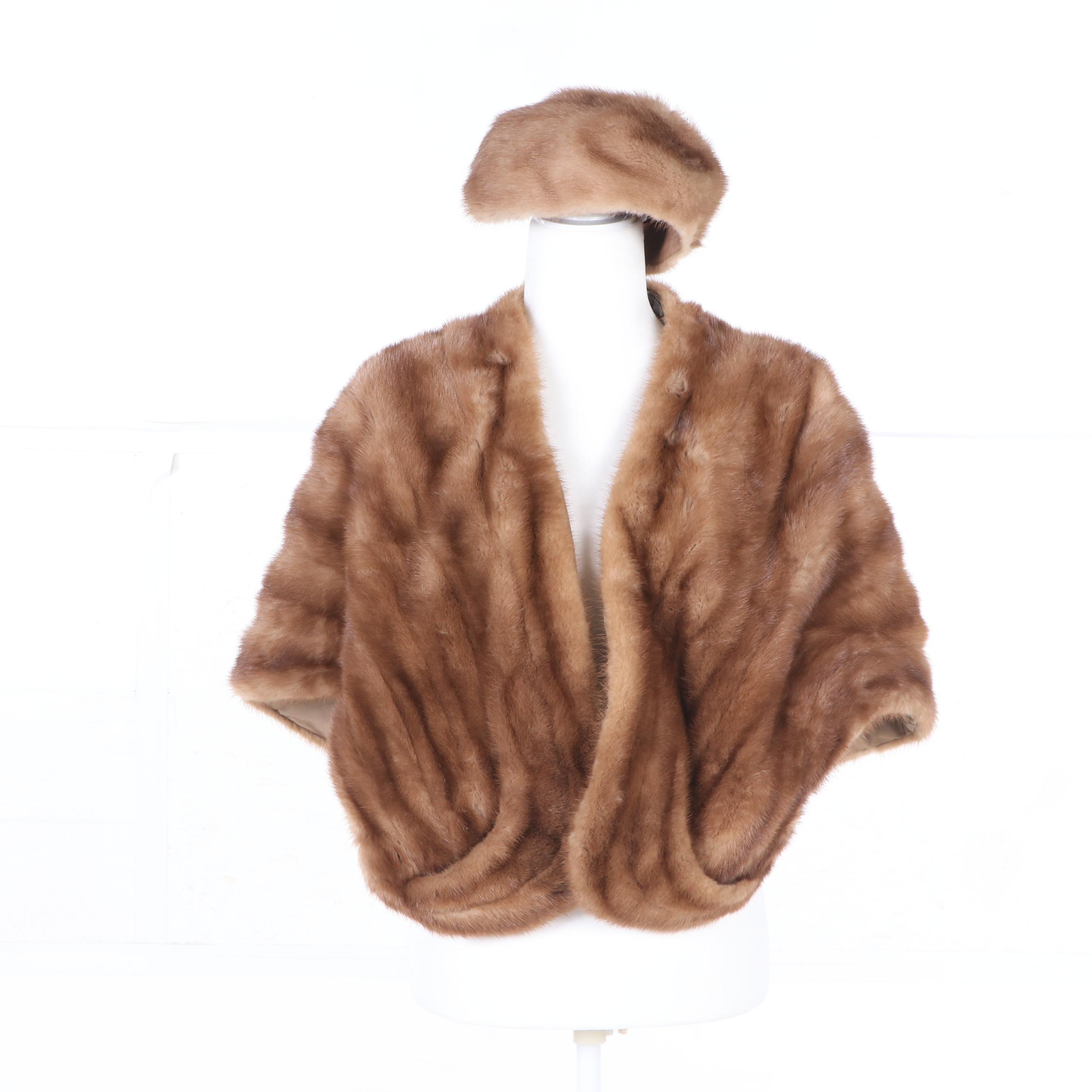 Polonsky-Kane-Schuman Mink Fur Stole and Monsieur Jacques Mink Fur Hat, Vintage