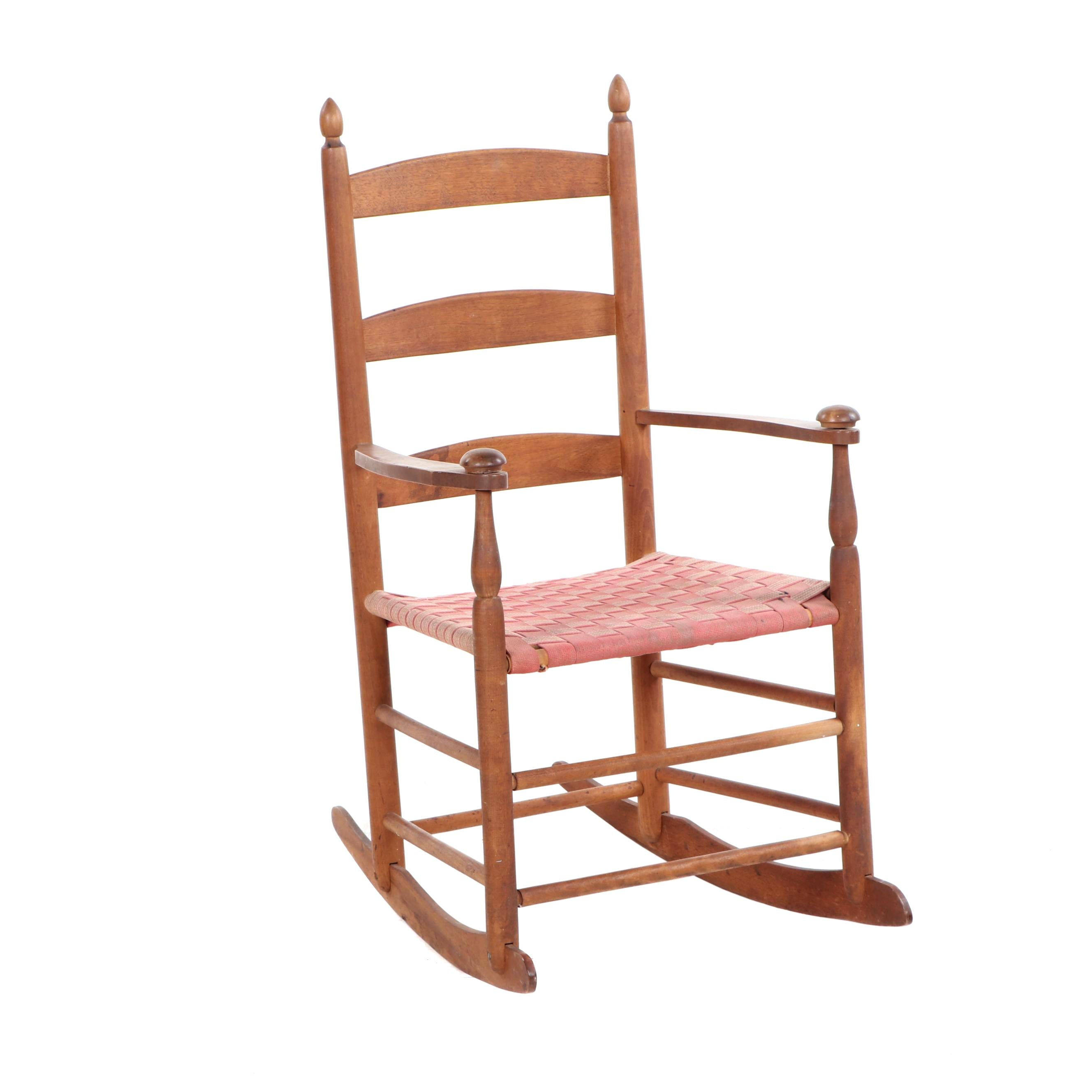 Diminutive Shaker Ladderback Rocking Chair with Woven Seat