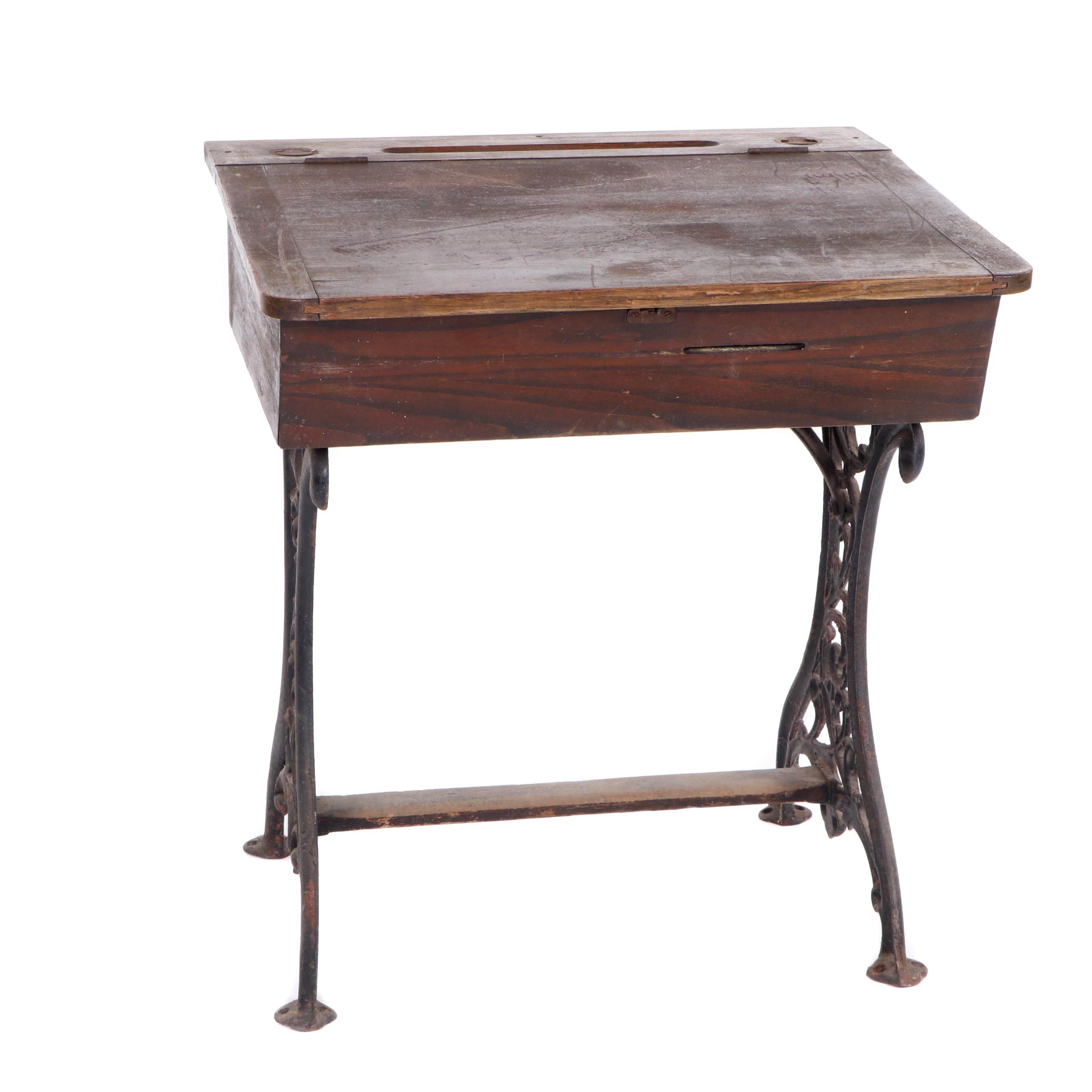 Oak and Cast Iron School Desk, Late 19th Century