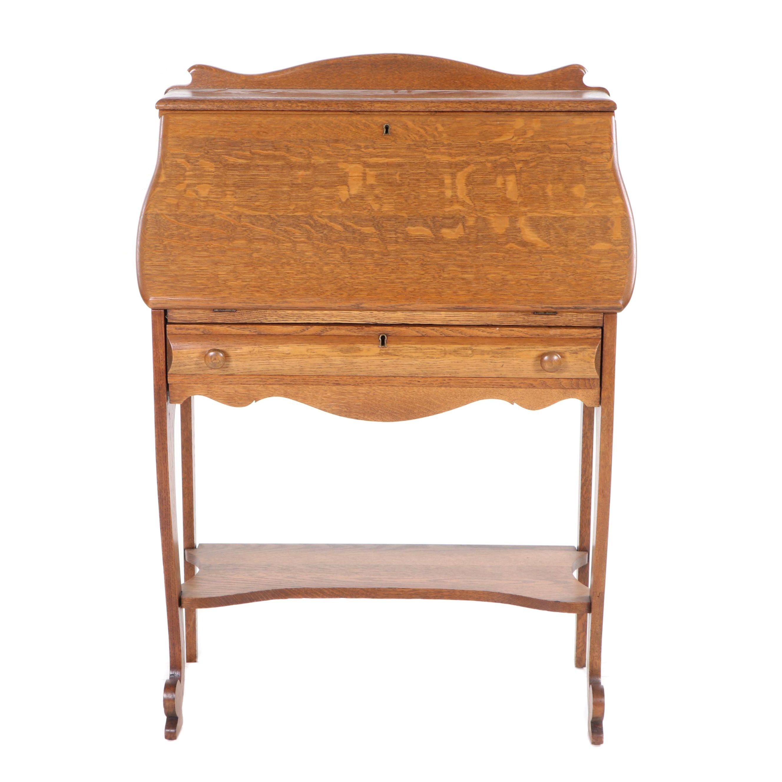 American Oak Slant-Front Desk, Early 20th Century