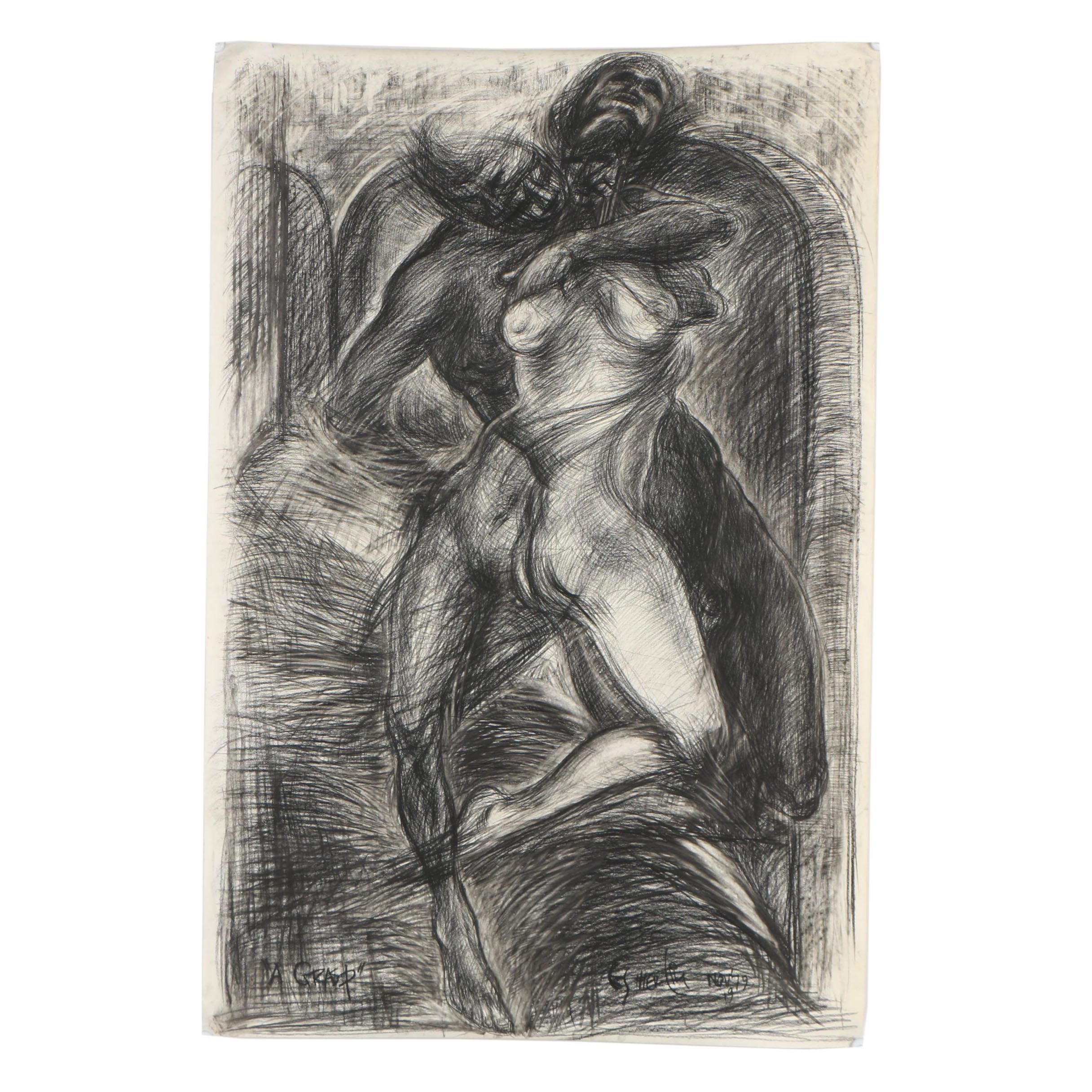 Esther Liu 1979 Charcoal Drawing of Abstract Figures