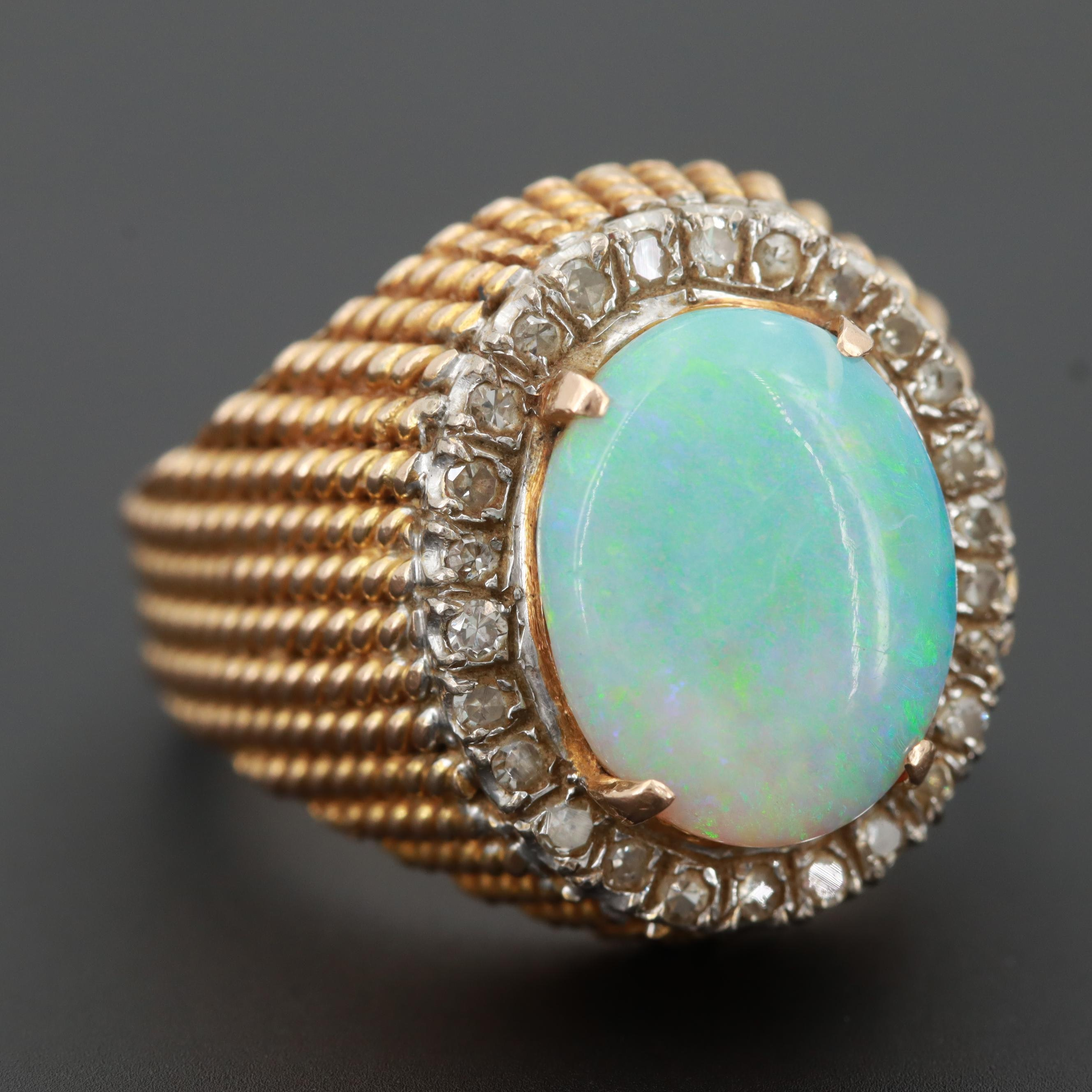 14K Yellow Gold Opal Ring with Diamond Halo