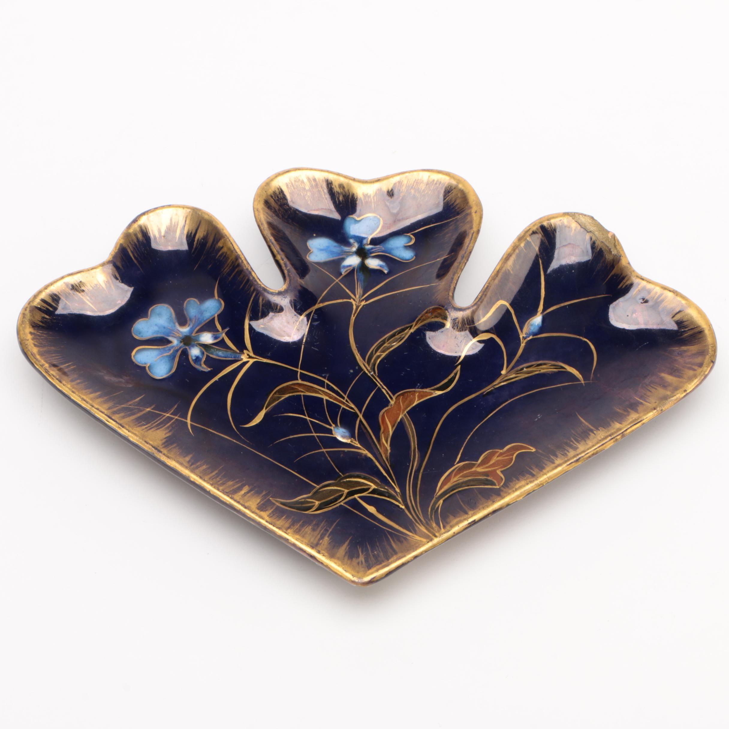 Emile Gallé French Art Nouveau Cobalt and Gold Lustre Tray