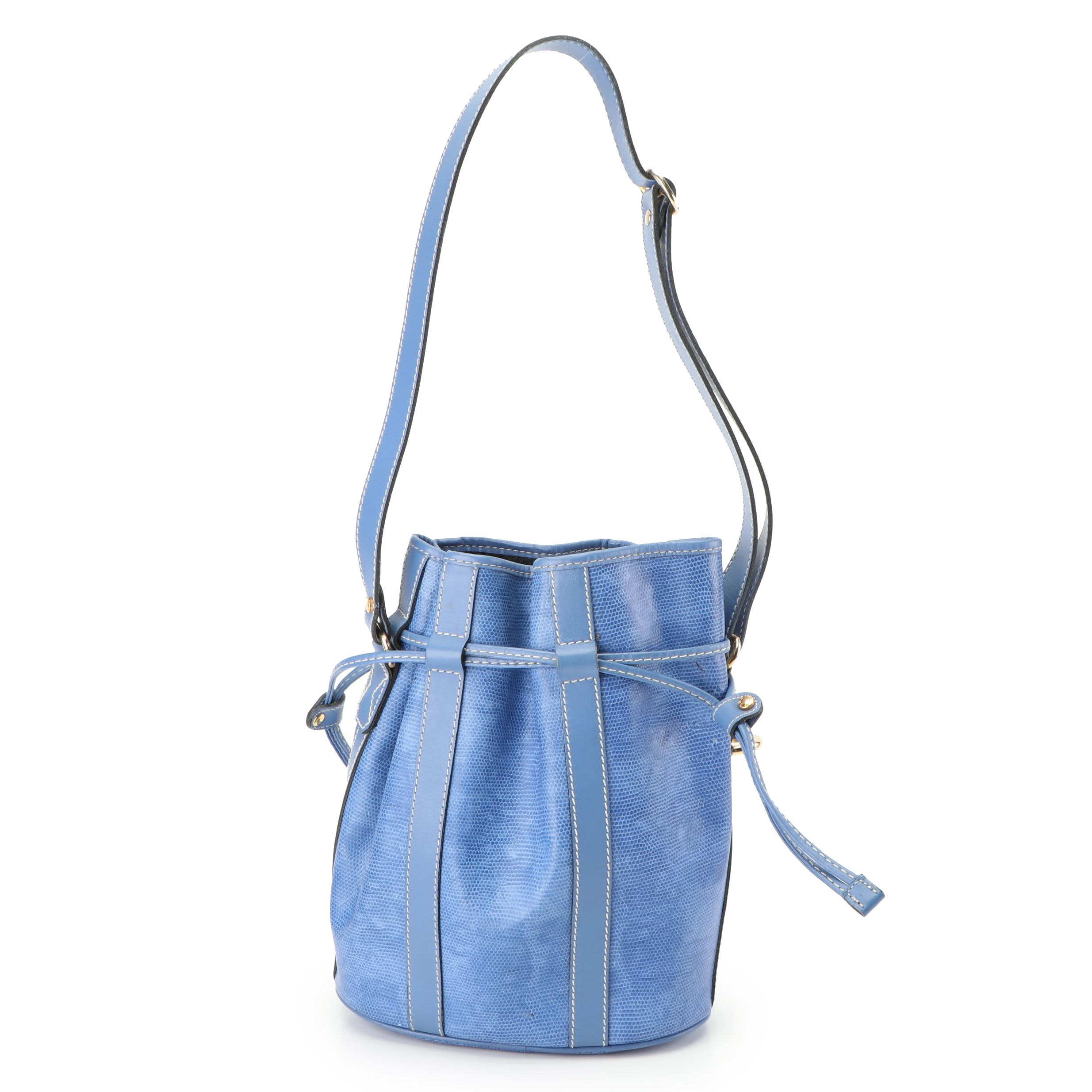 Lancel Lizard Embossed Blue Leather Bucket Bag