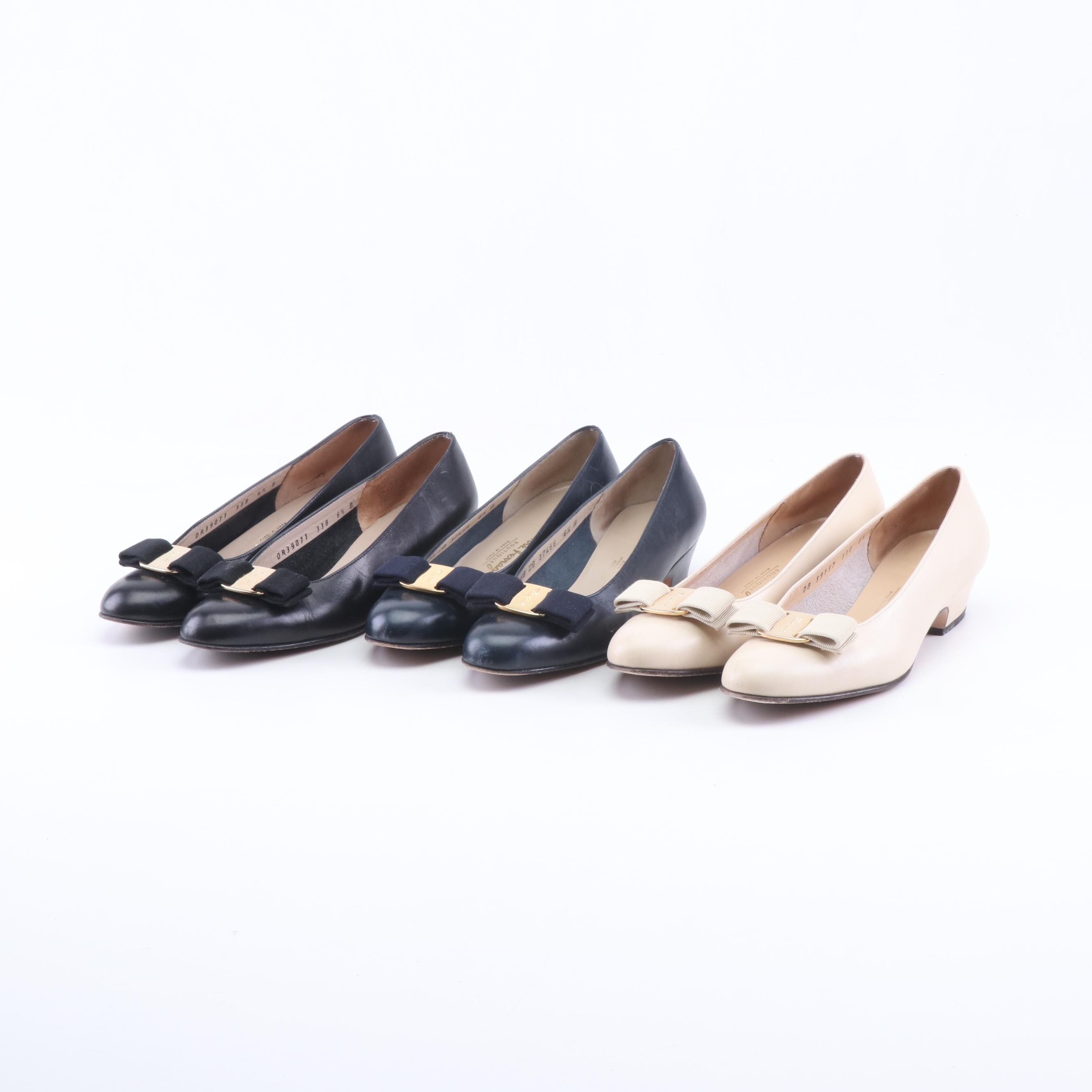 Three Pairs of Women's Salvatore Ferragamo Lillaz Leather Bow Pumps