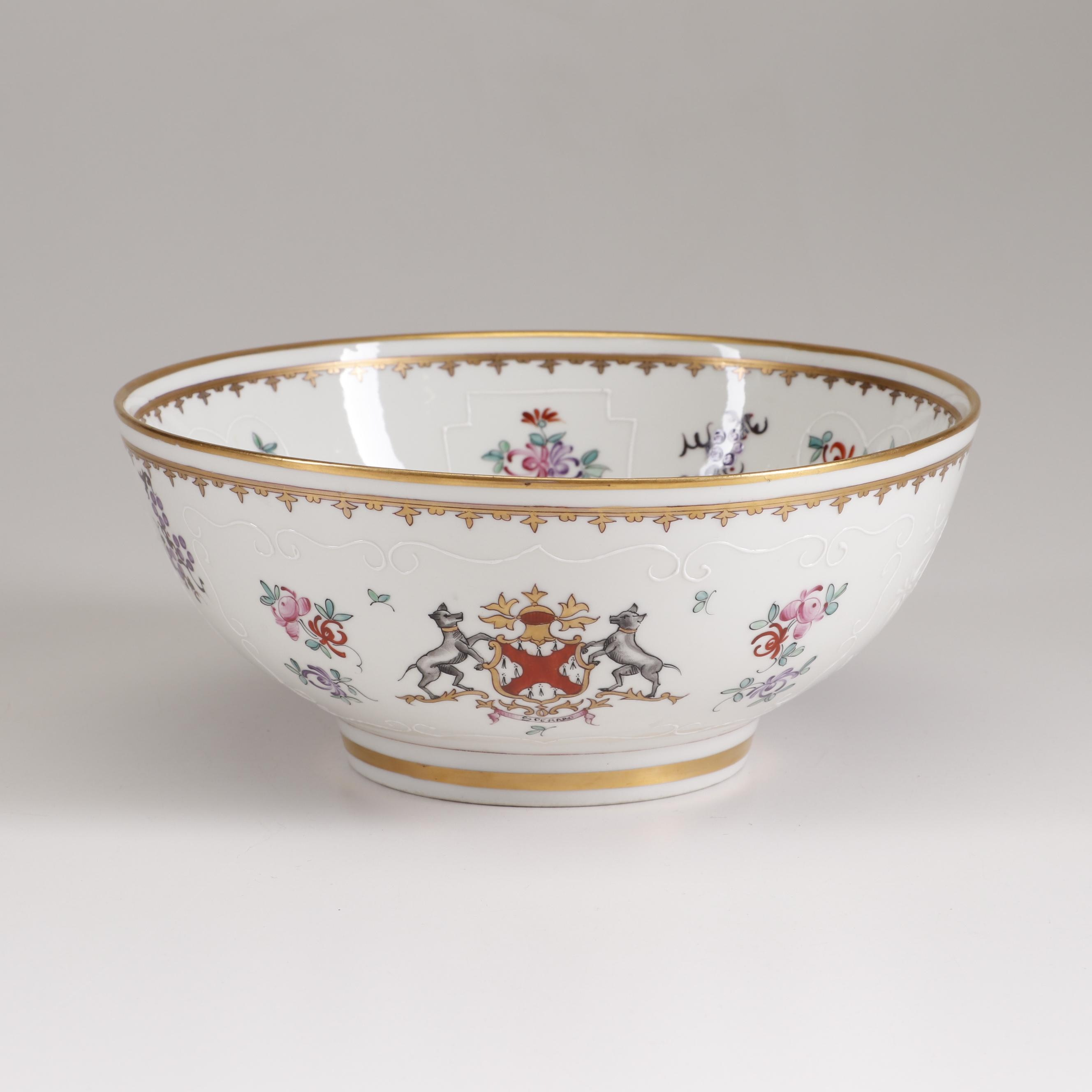 French Hand-Painted Gold Embellished Porcelain Centerpiece Bowl