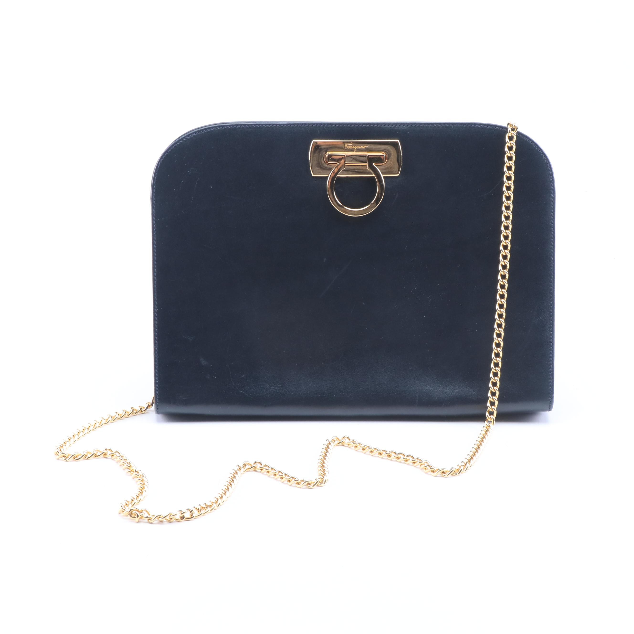 Salvatore Ferragamo Navy Calfskin Gancini Shoulder Bag with Chain Strap