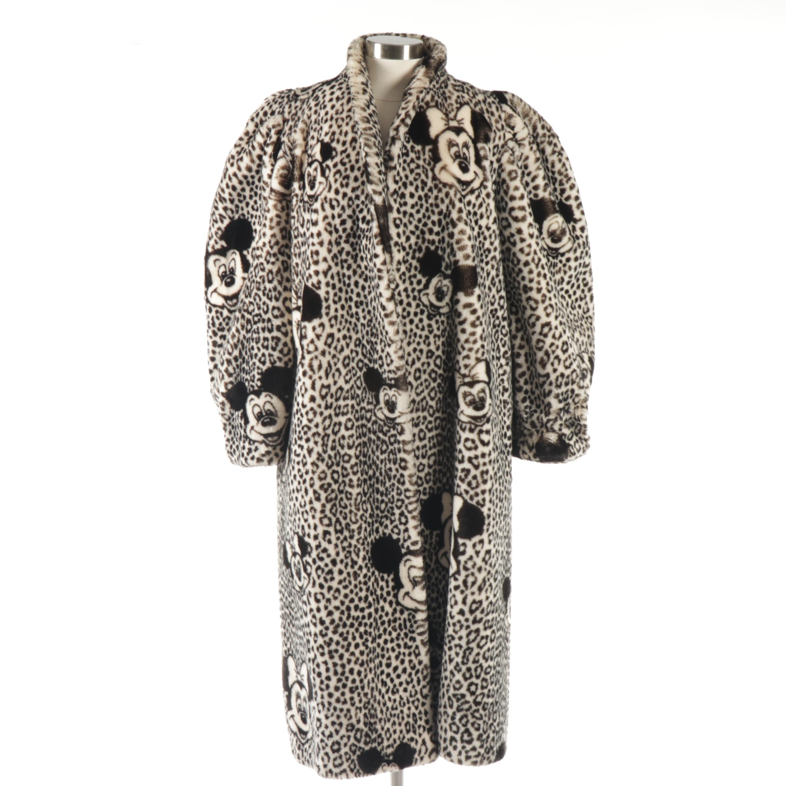 Apparence Paris Mickey and Minnie Leopard Print Faux Fur Coat